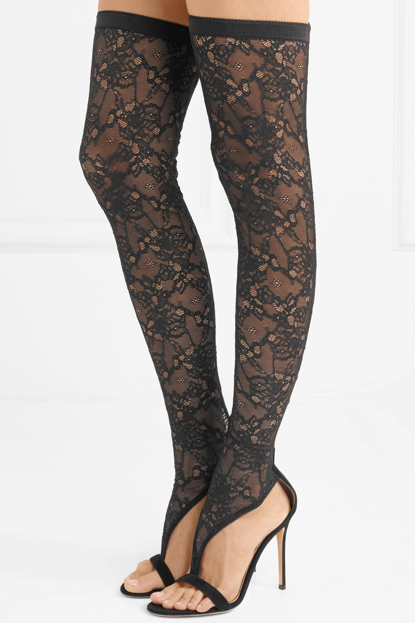 Gianvito Rossi Isabella 100 Stretch-lace And Suede Over-the-knee Boots in Black