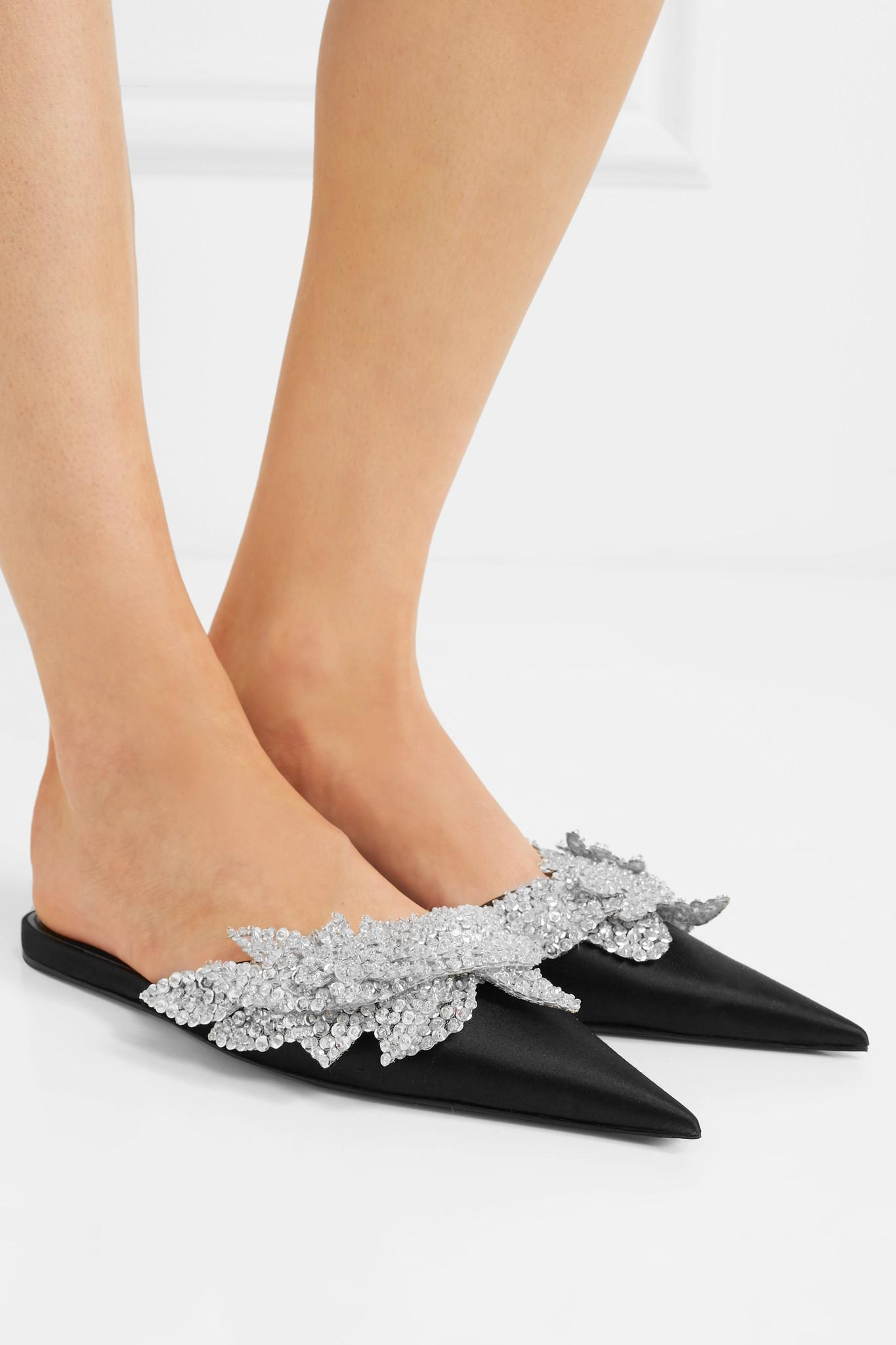 e5682bd00cf3 Balenciaga Slash Sequin-embellished Satin Slippers in Black - Lyst