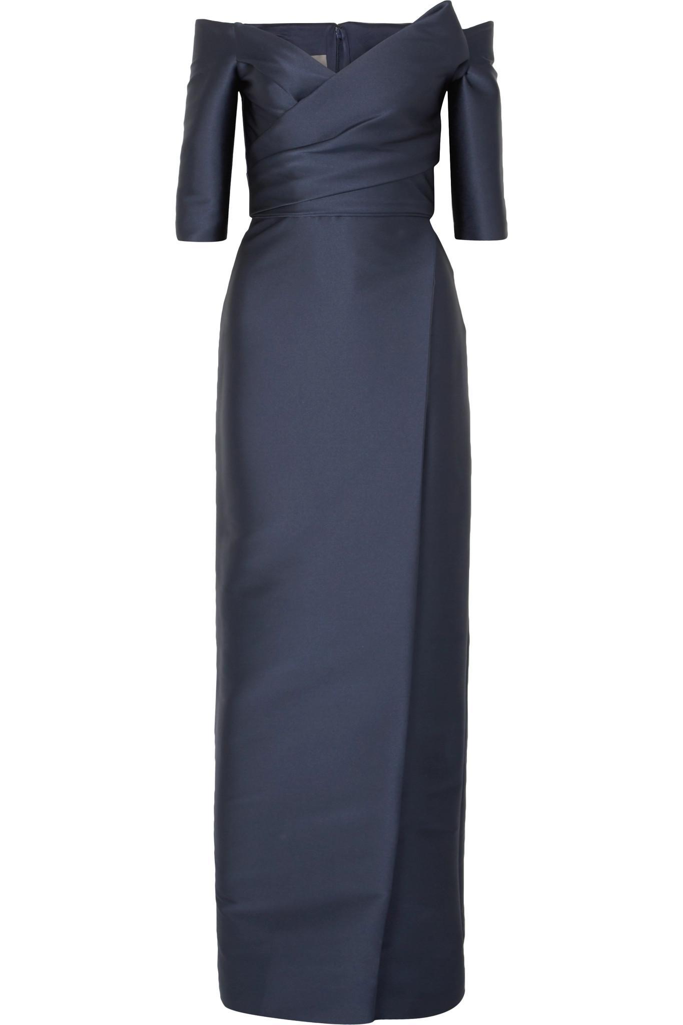 Off-the-shoulder Satin Gown - Navy Monique Lhuillier E0AuNgd2xU