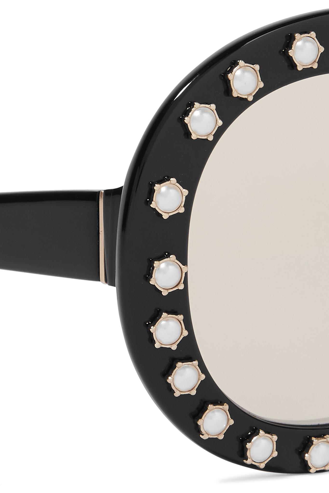 Bel Lunettes De Soleil En Acétate-frame Ronde Embelli De Perles Swarovski D'air - Noir Alice & Olivia kNAGmomR
