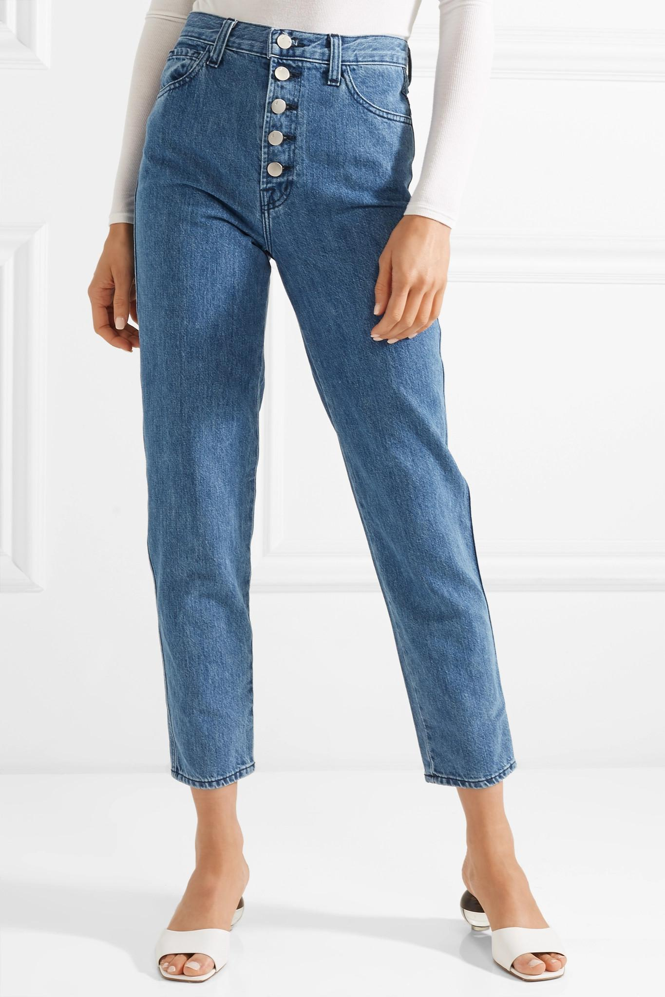 431ebded J Brand Heather Cropped High-rise Straight-leg Jeans in Blue - Lyst