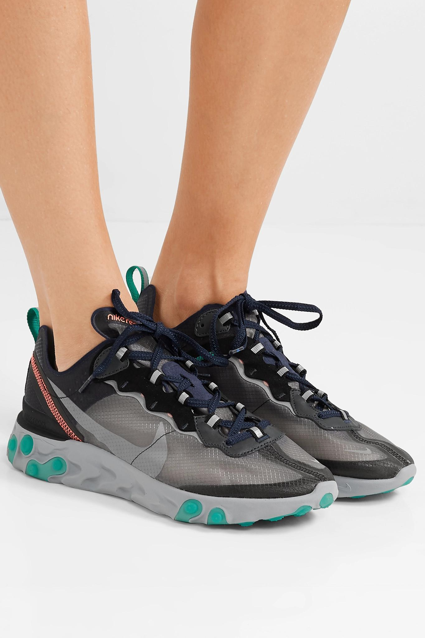 finest selection 98cf5 dbc23 Nike - Gray React Element 87 Microsuede-trimmed Ripstop Sneakers - Lyst.  View fullscreen