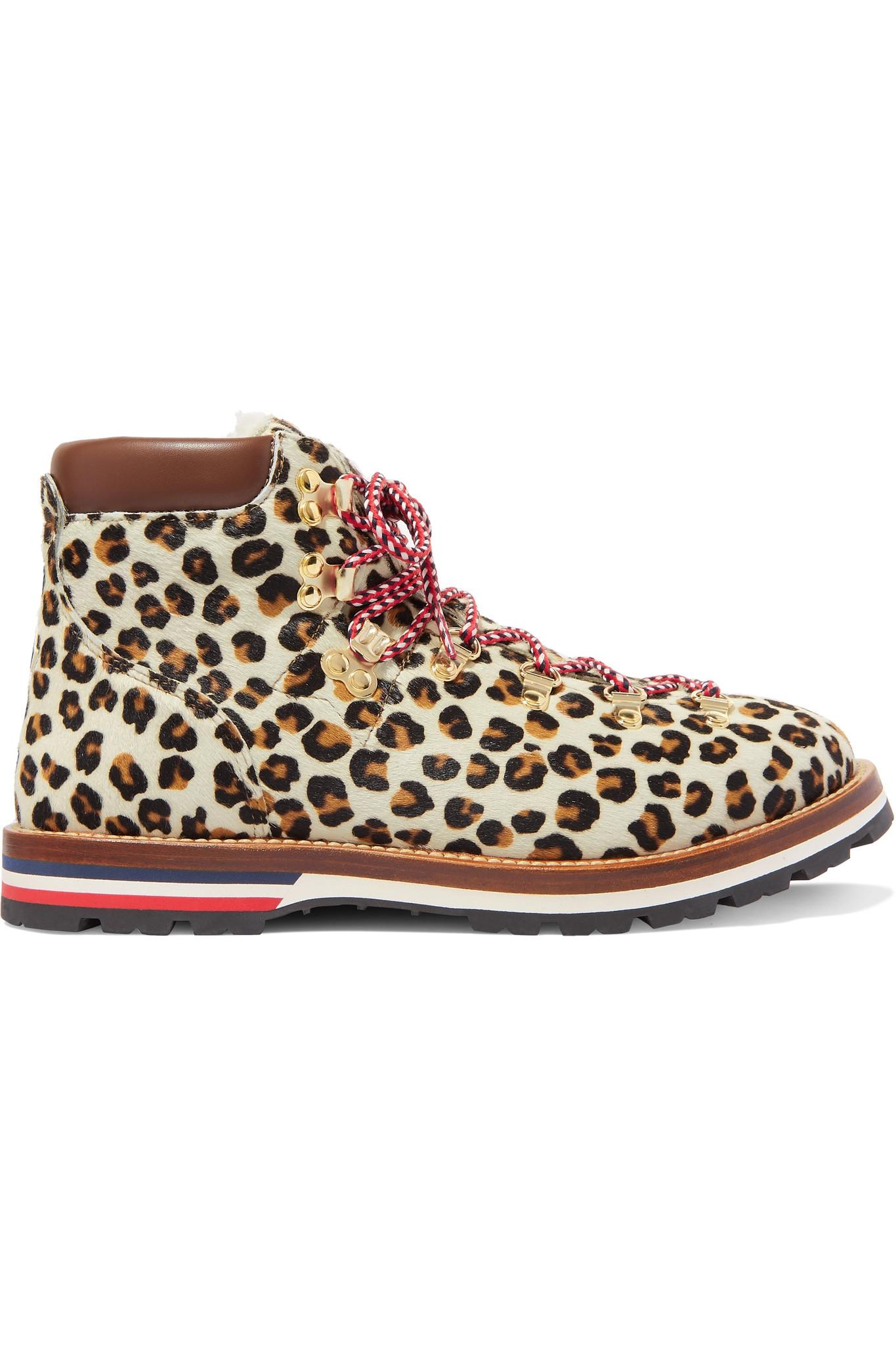 8e9d20018 Lyst - Moncler Blanche Shearling-lined Calf Hair Ankle Boots in Brown