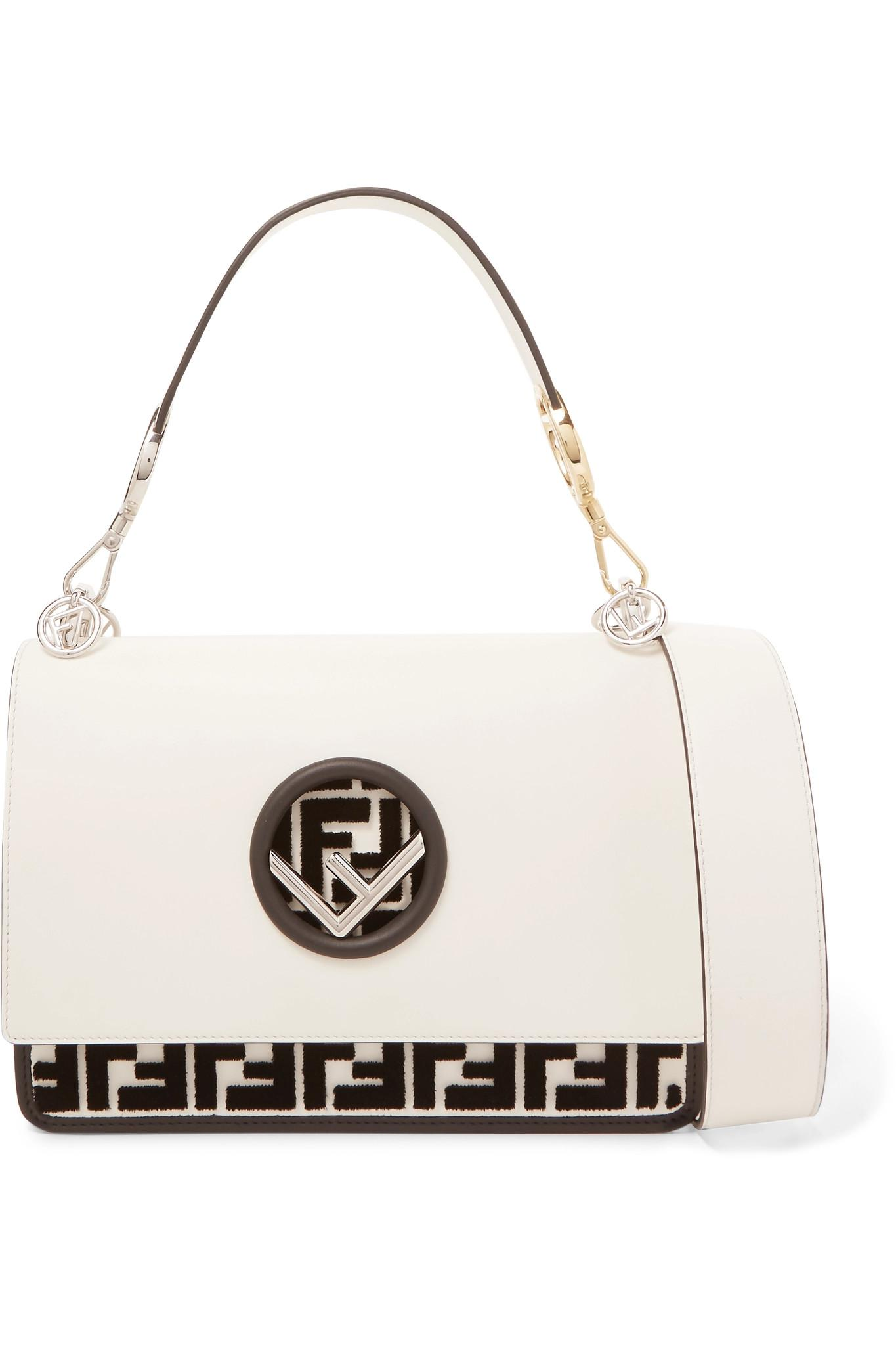 Lyst - Fendi Kan I Flocked Leather Shoulder Bag in White cd2d61c423b28