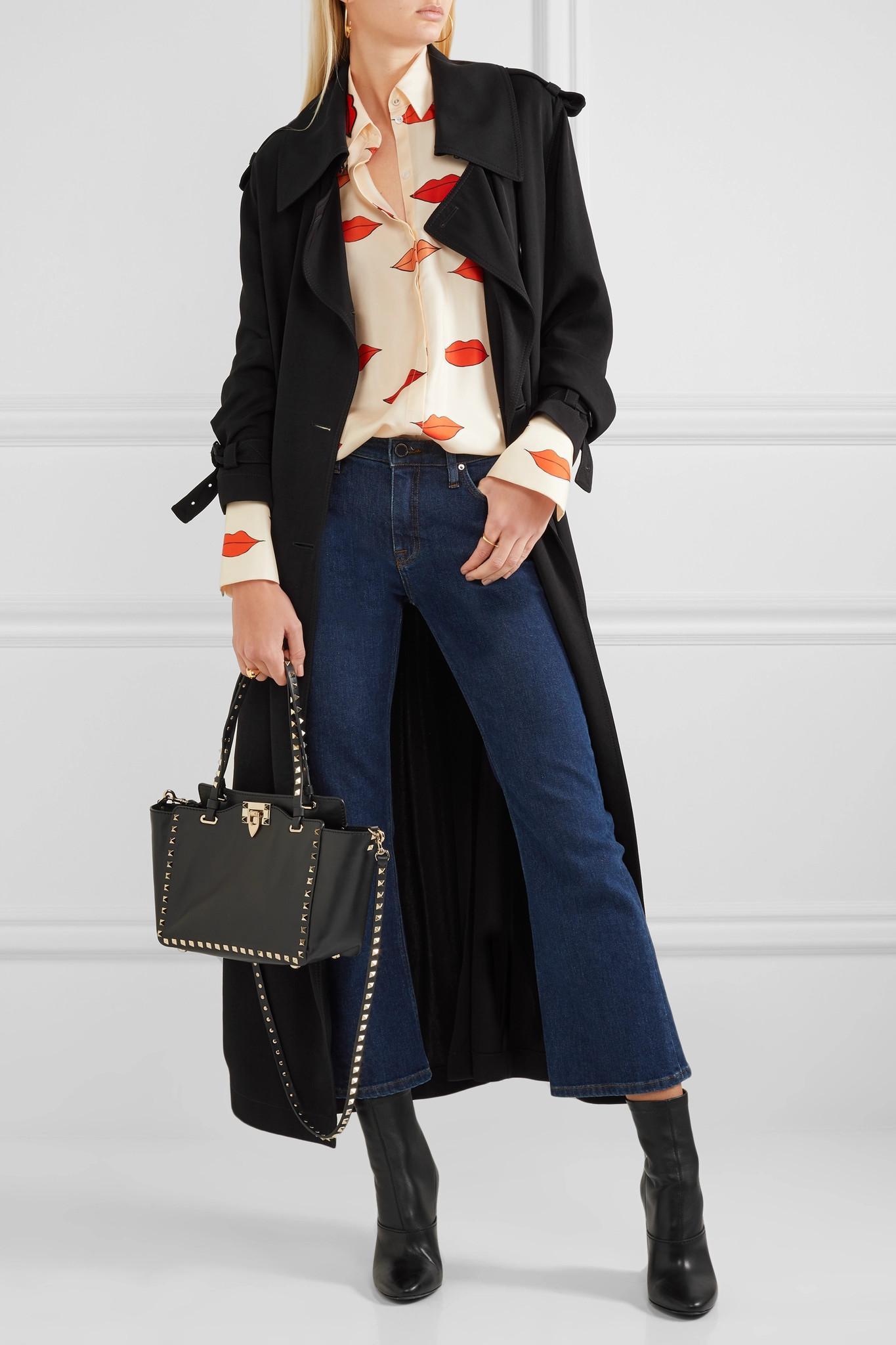 ef03ca62ac4 Valentino Garavani The Rockstud Small Leather Trapeze Bag in Black ...