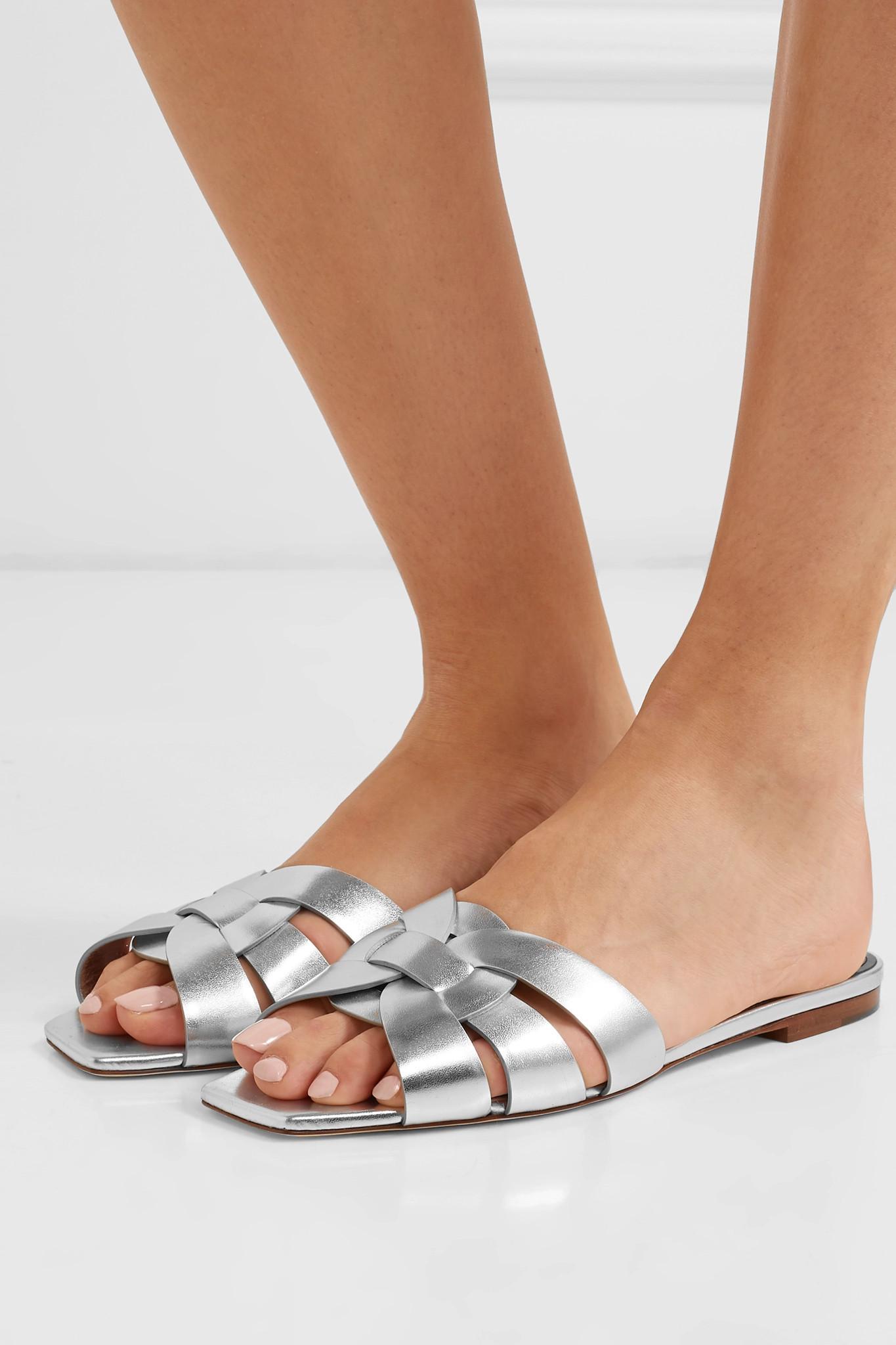 64a43943a2e saint-laurent-silver-Nu-Pieds-Woven-Metallic-Leather-Slides.jpeg
