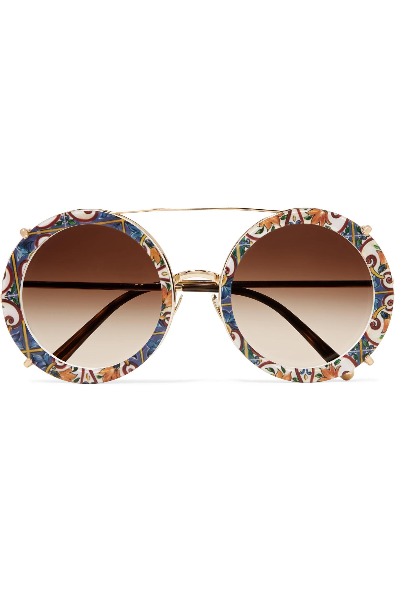 0f6216bfe780 Dolce   Gabbana. Women s Metallic Round-frame Printed Acetate And Gold-tone  Convertible ...