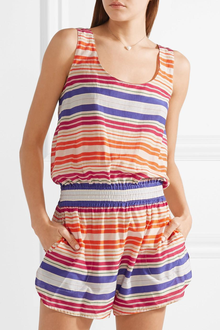 557bf12669 Lyst - Stella McCartney Striped Cotton And Silk-blend Voile Playsuit ...
