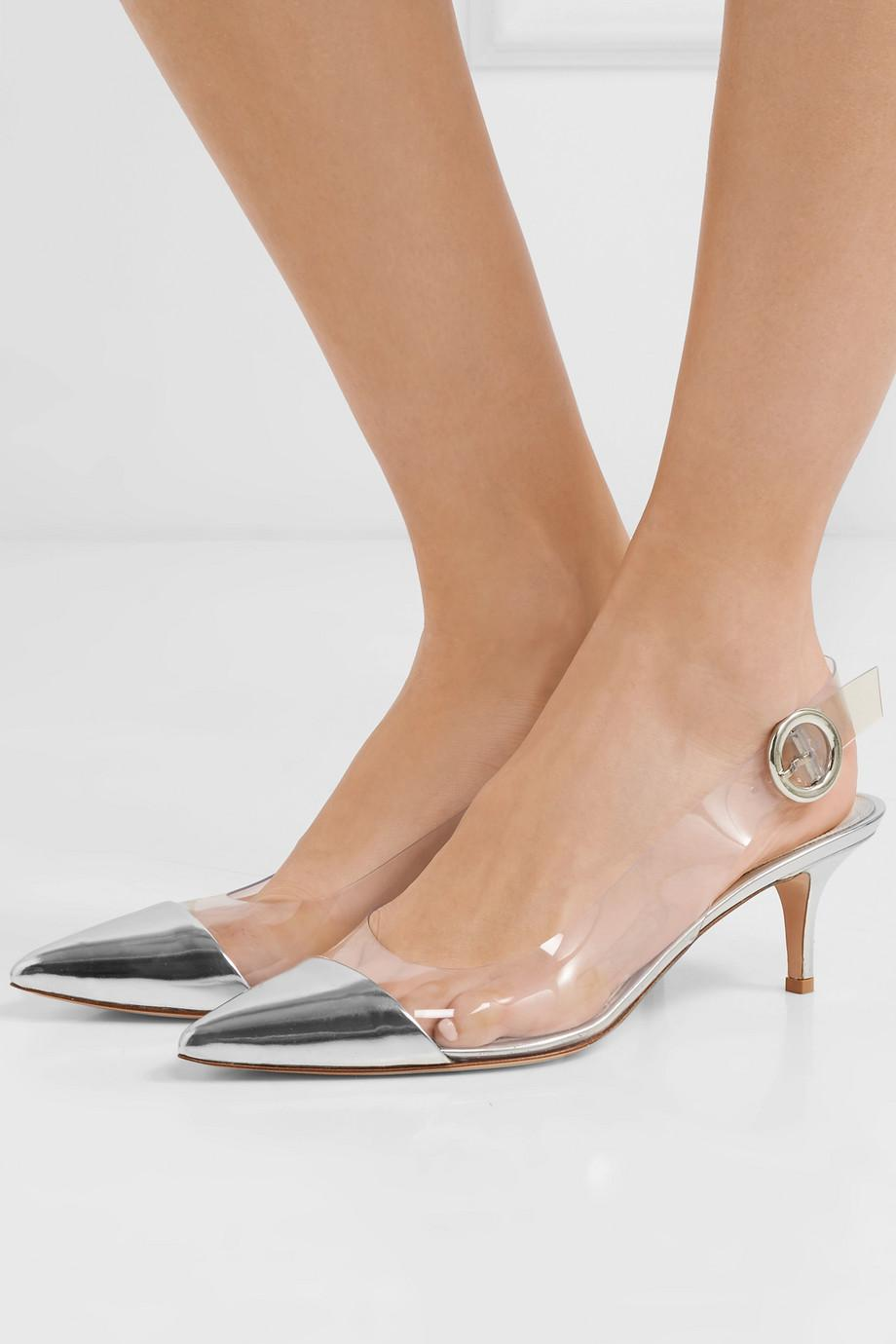 55 Mirrored-leather And Pvc Slingback Pumps - Silver Gianvito Rossi OSsvS