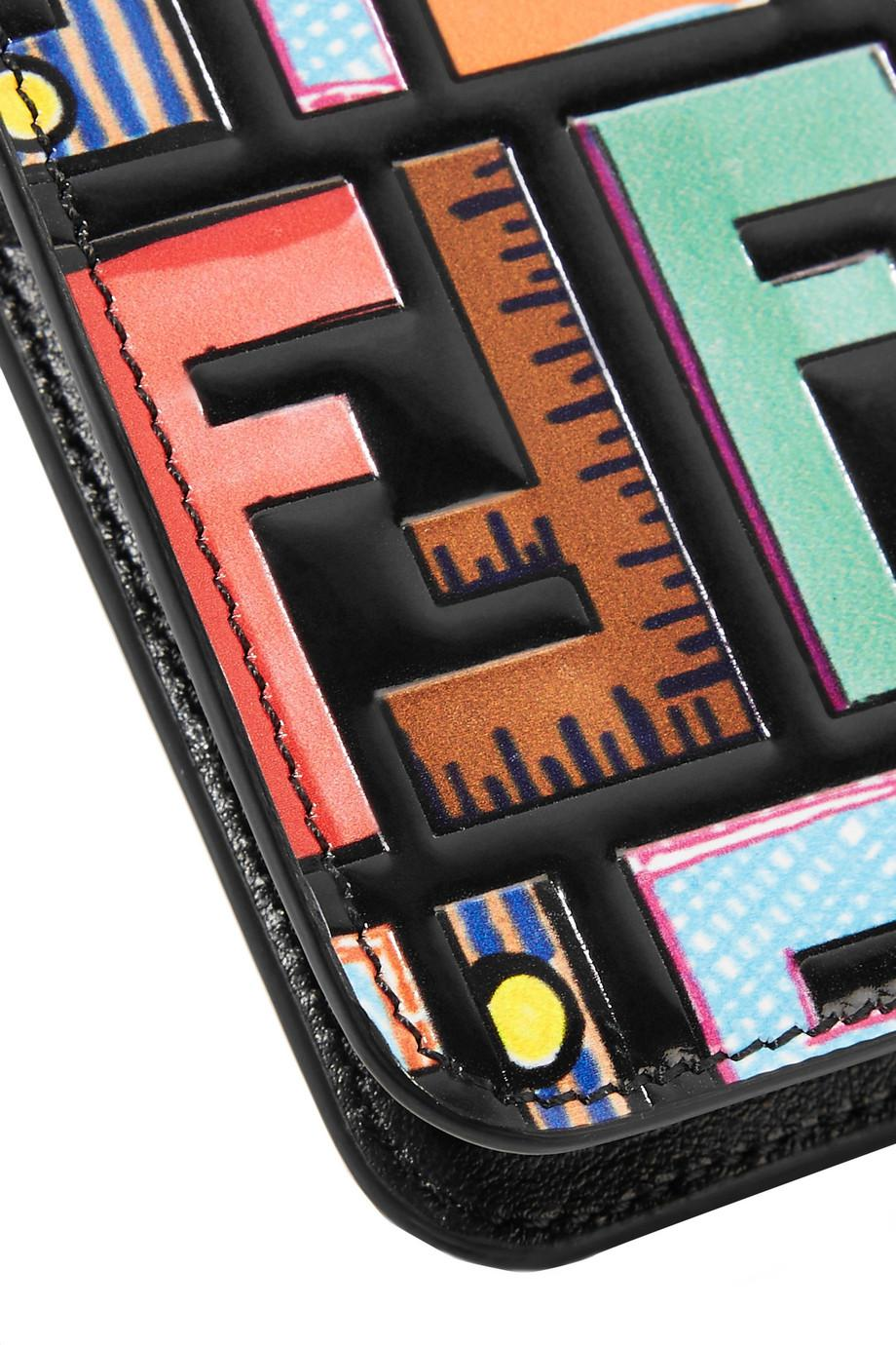 buy popular f49cb 59518 Fendi Black Embossed Printed Leather Iphone 7 Plus Case