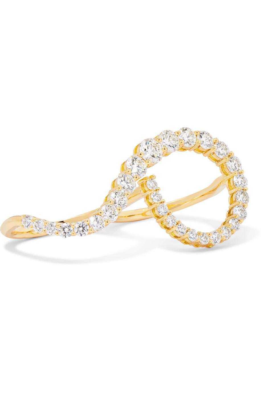 Melissa Kaye Aria Grace 18-karat Gold Diamond Two-finger Ring Okx19