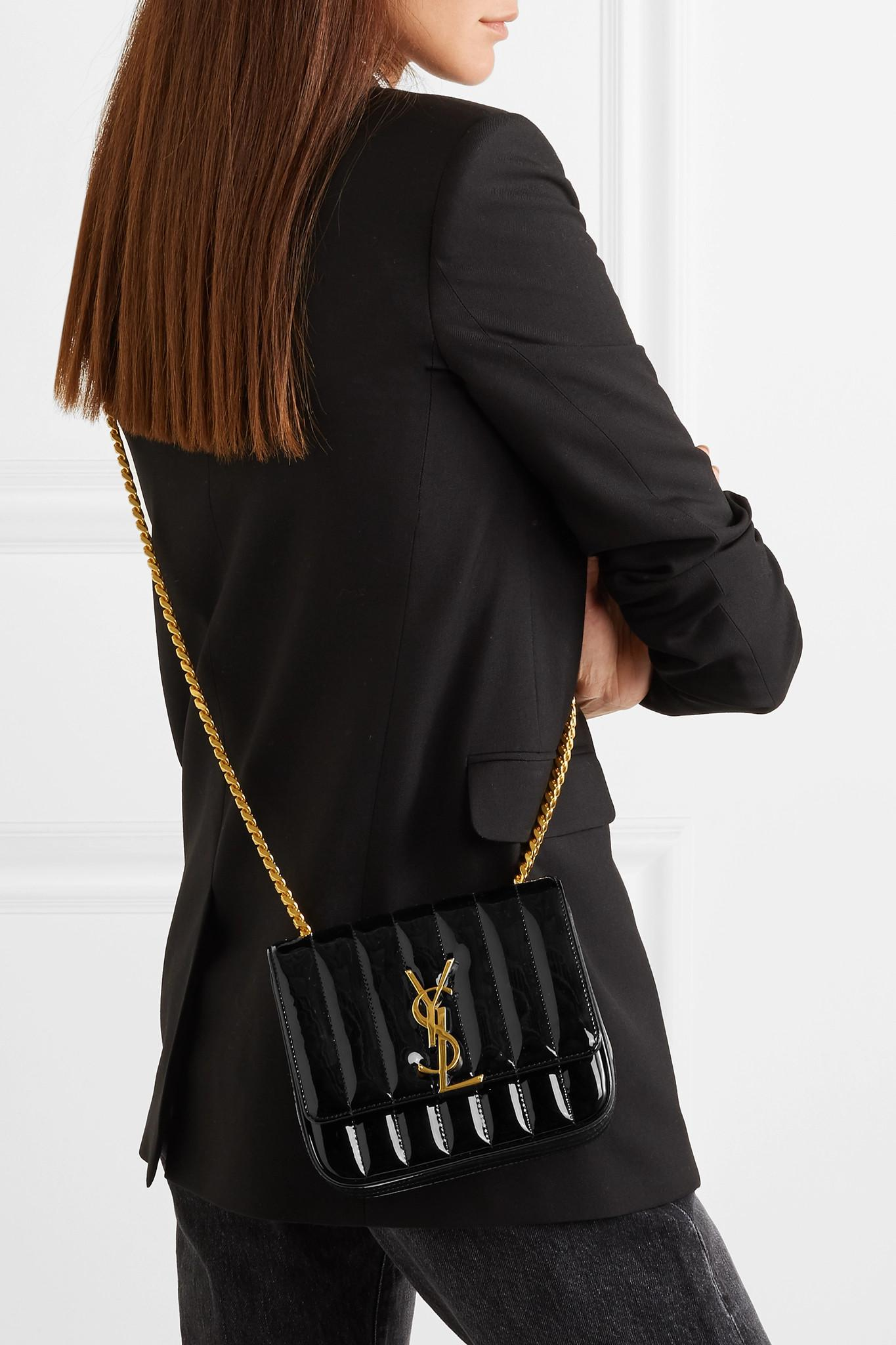 022edc6fbe Saint Laurent - Black Stripe Vicky Leather Shoulder Bag - Lyst. View  fullscreen
