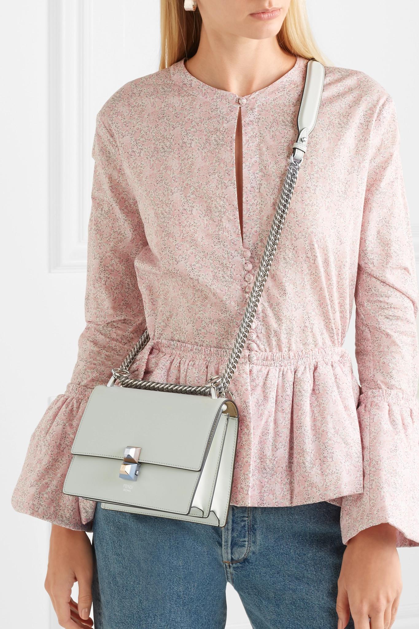 48019b415e Lyst - Fendi Kan I Leather Shoulder Bag in Green