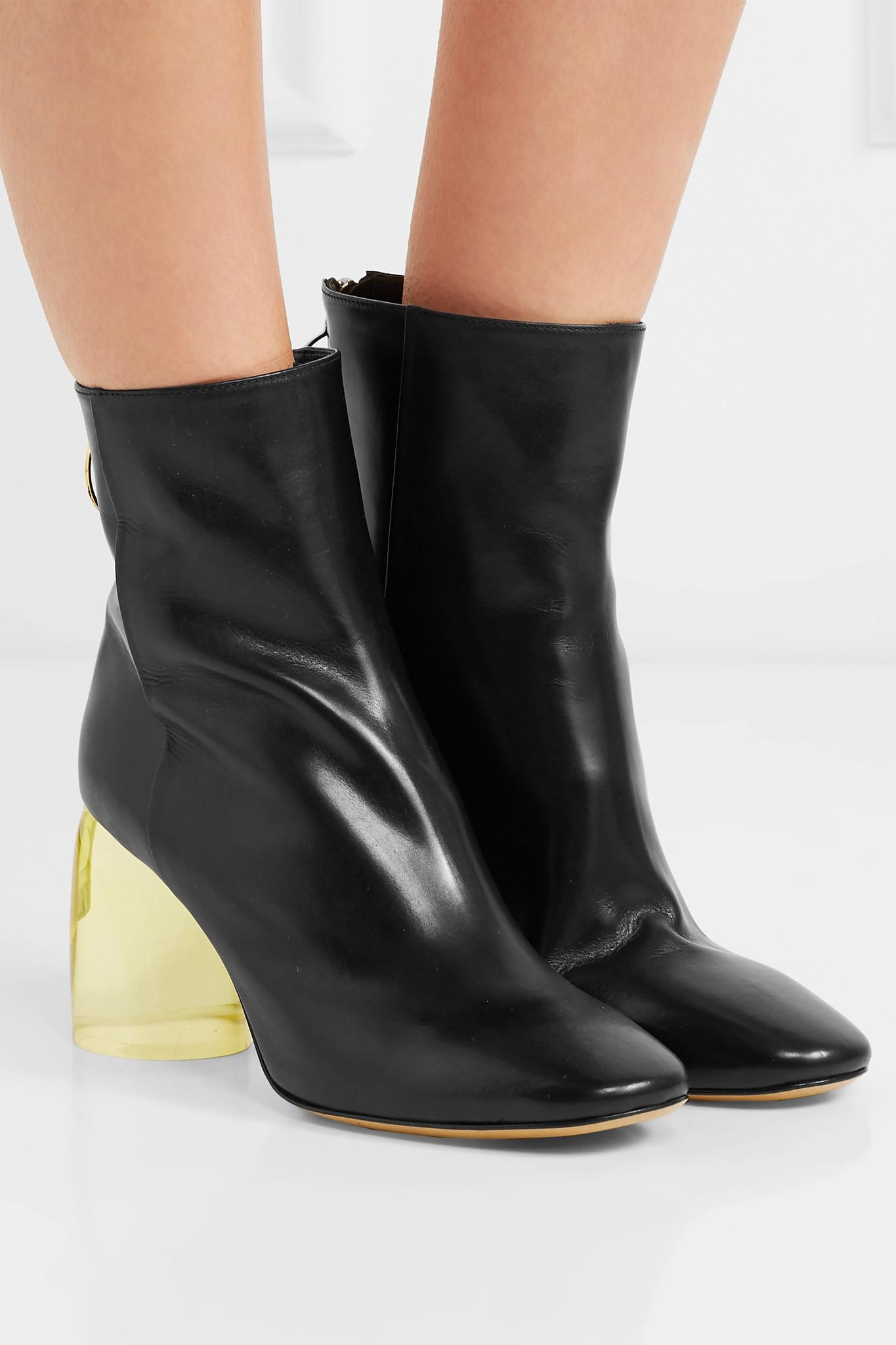 Ellery Leather And Perspex Ankle Boots in Black