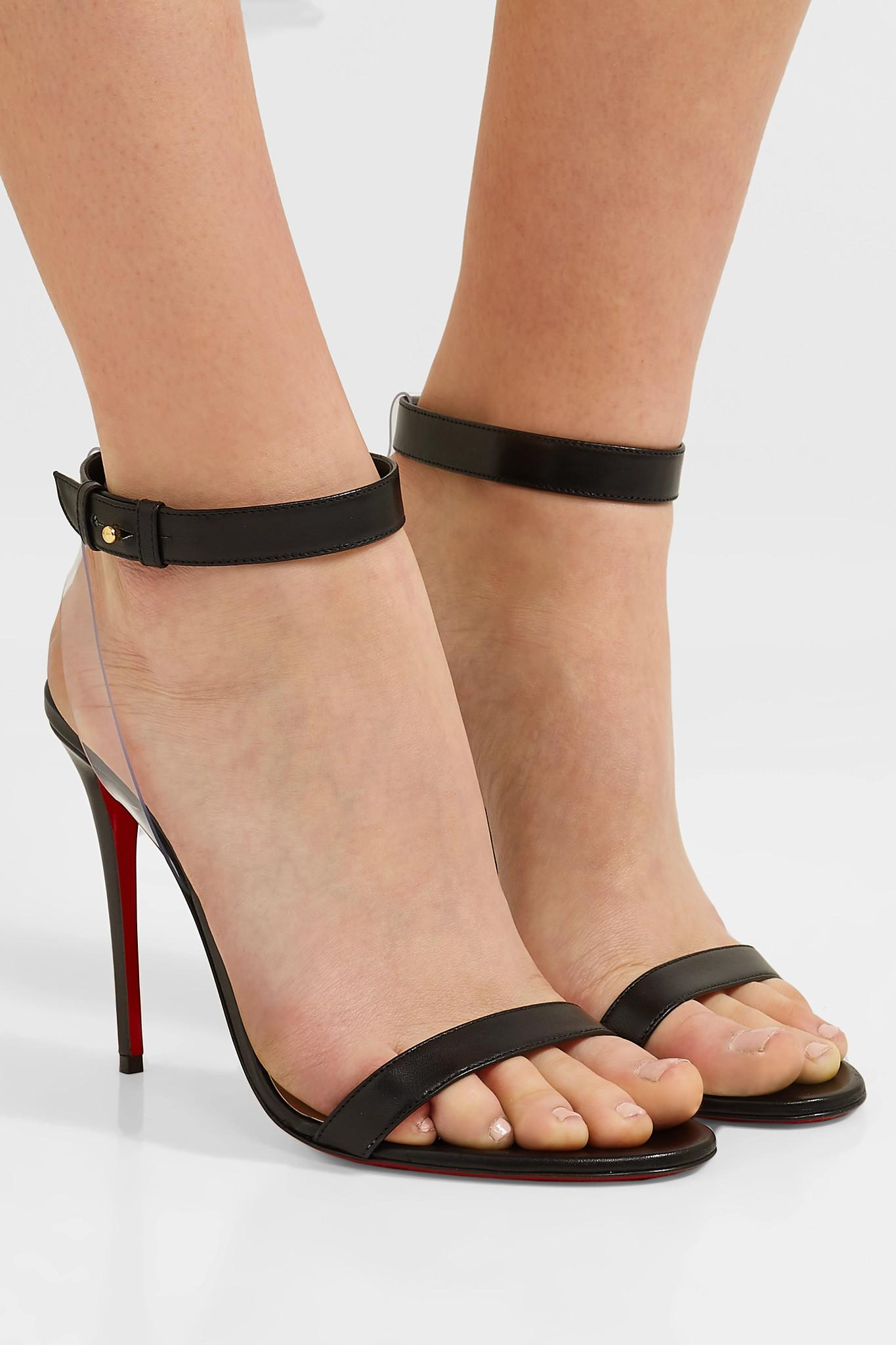 d118f10ad5a Lyst - Christian Louboutin Jonatina 100mm Leather Sandals in Black