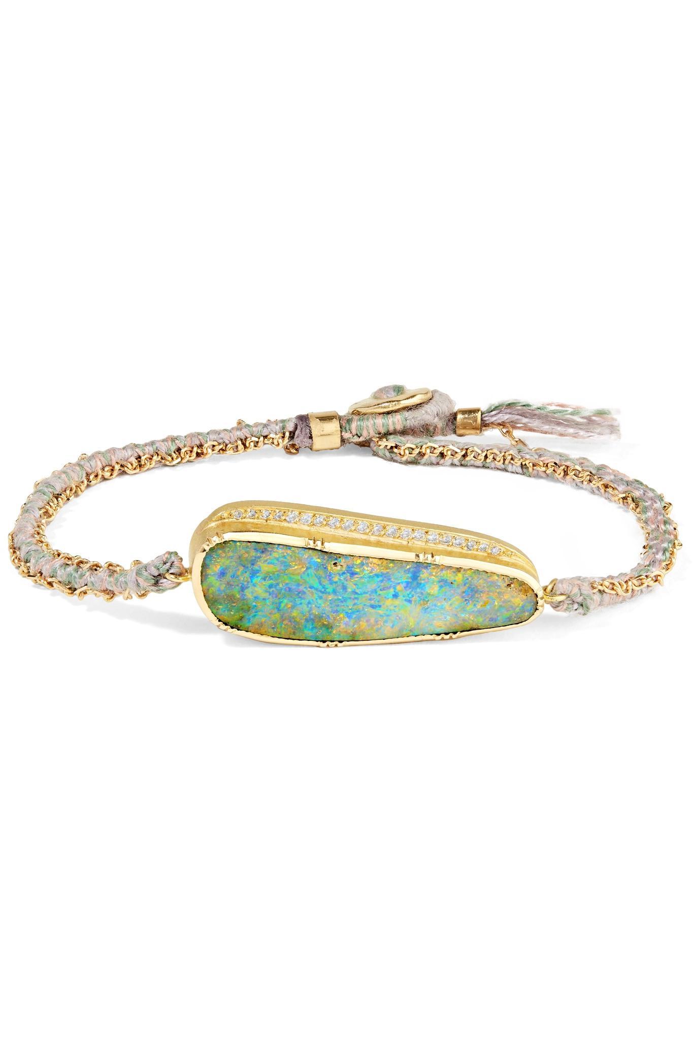 Gemco Designs 18kt gold, diamond, opal & sapphire hand bracelet - Metallic