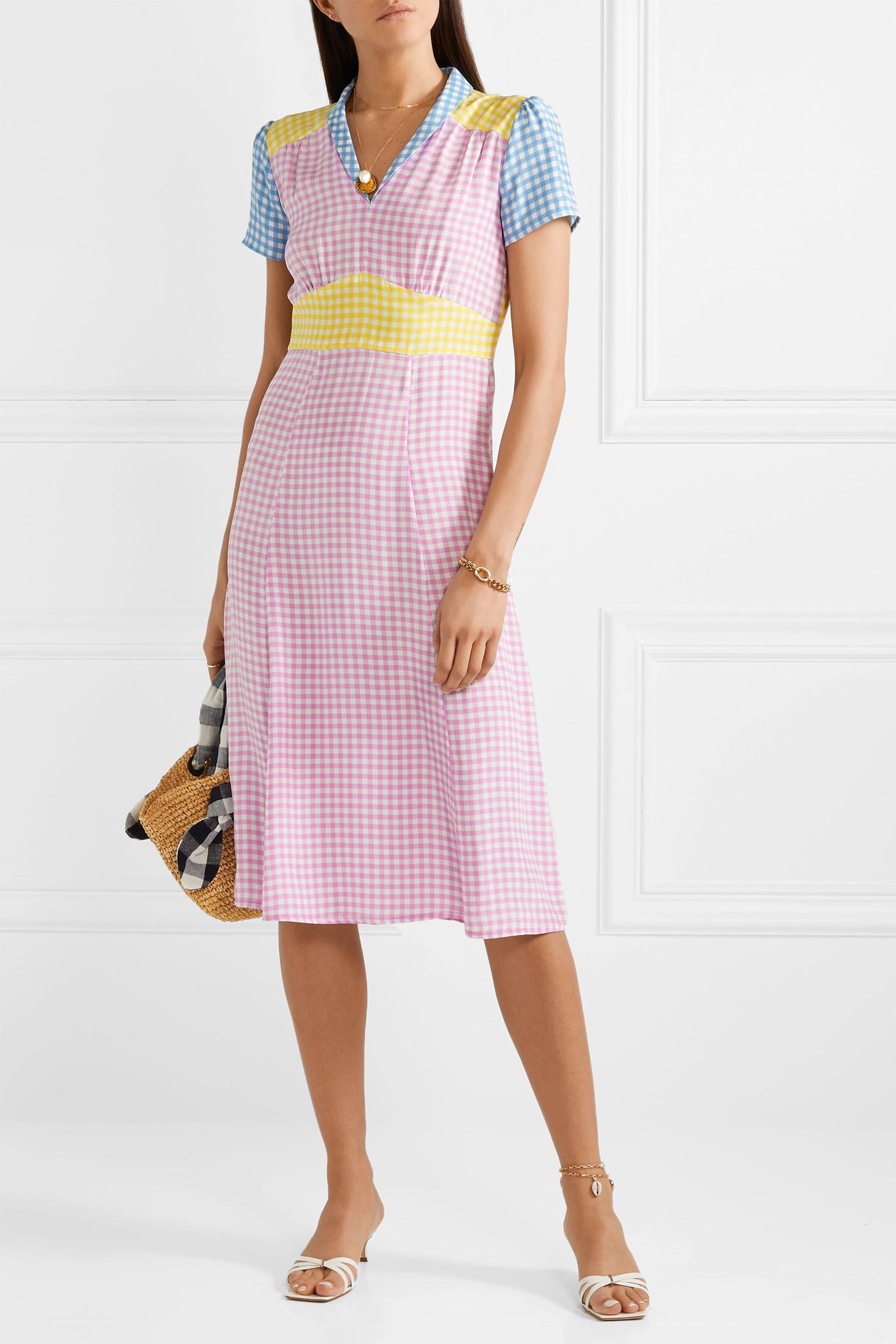 Lyst - HVN Morgan Gingham Silk Crepe De Chine Dress in Pink 3c45720cf