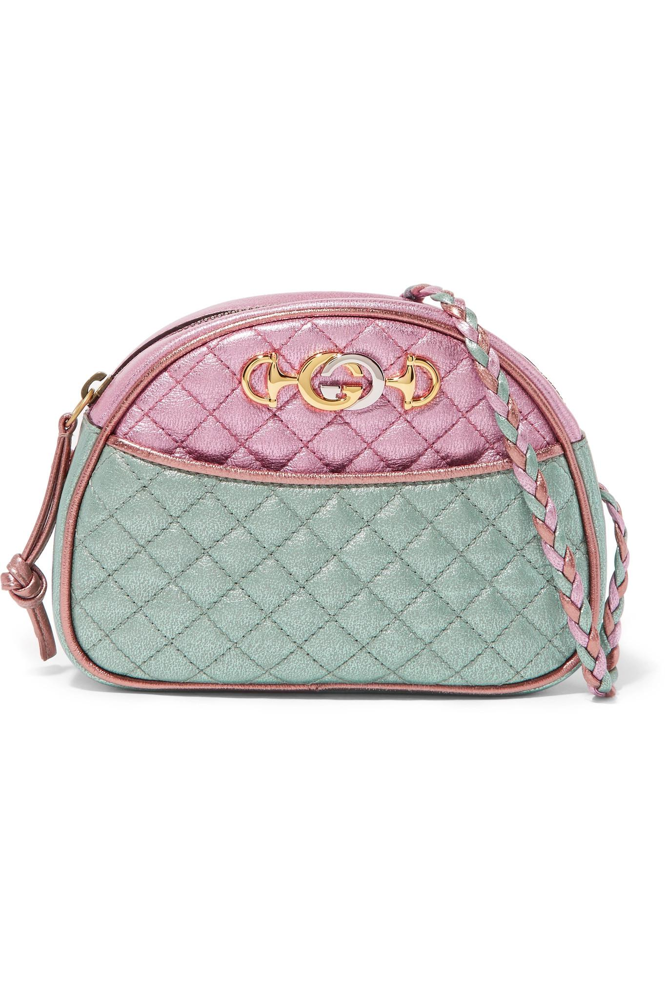 ccc0d5fbcb4 Gucci Pink And Blue Laminated Leather Mini Bag in Pink - Save 13% - Lyst