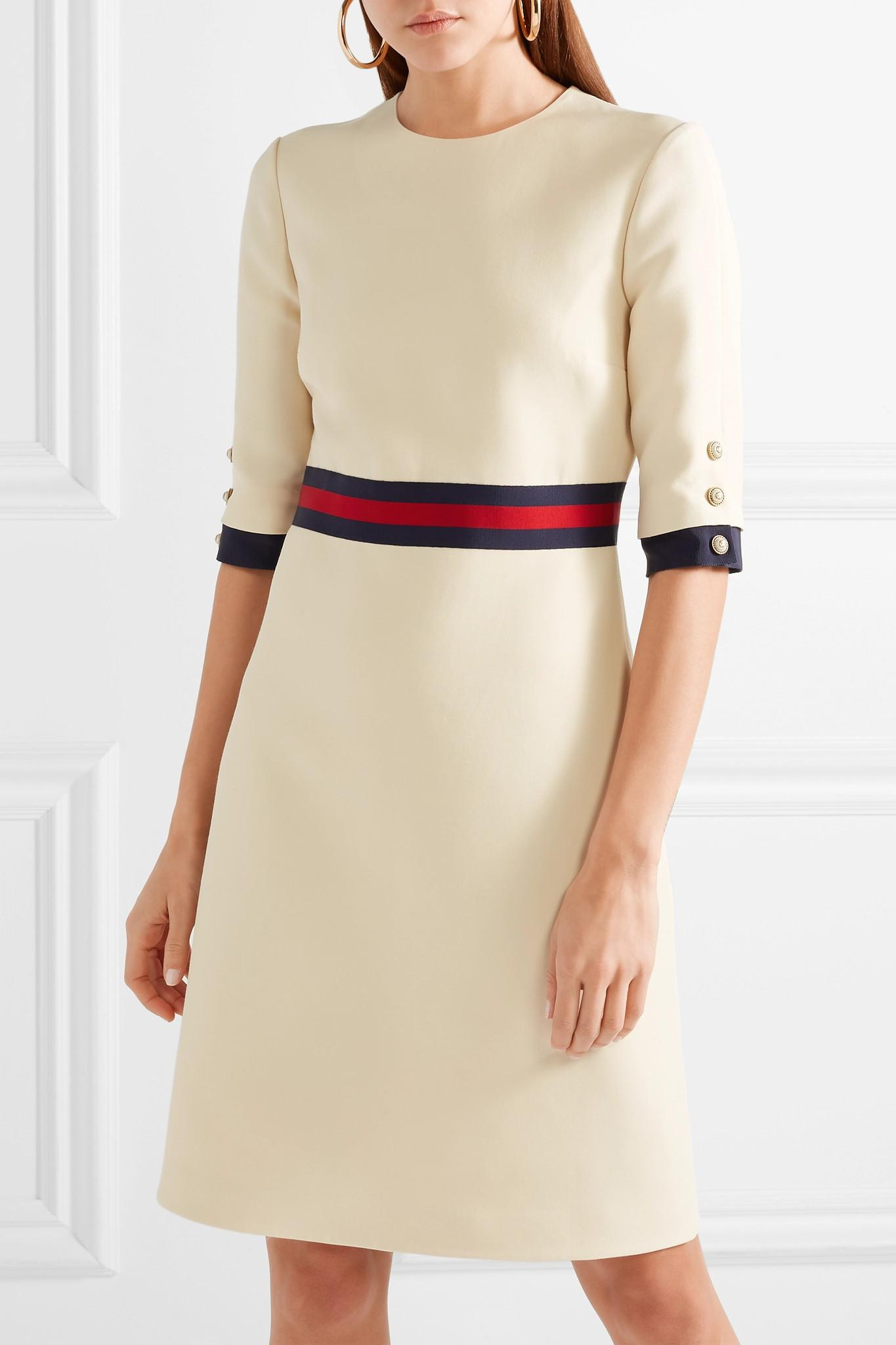 09d2478ad Gucci Grosgrain-trimmed Wool And Silk-blend Mini Dress in Natural - Lyst