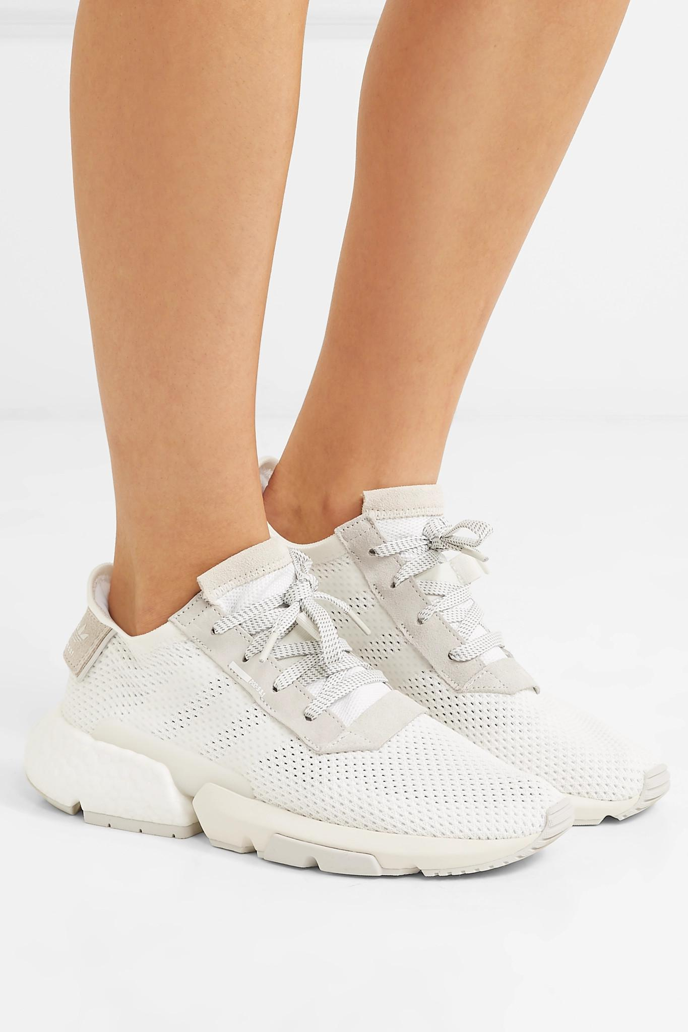 low priced e5800 c9529 Adidas Originals - White Pod-s3.1 Suede-trimmed Mesh Sneakers - Lyst. View  fullscreen
