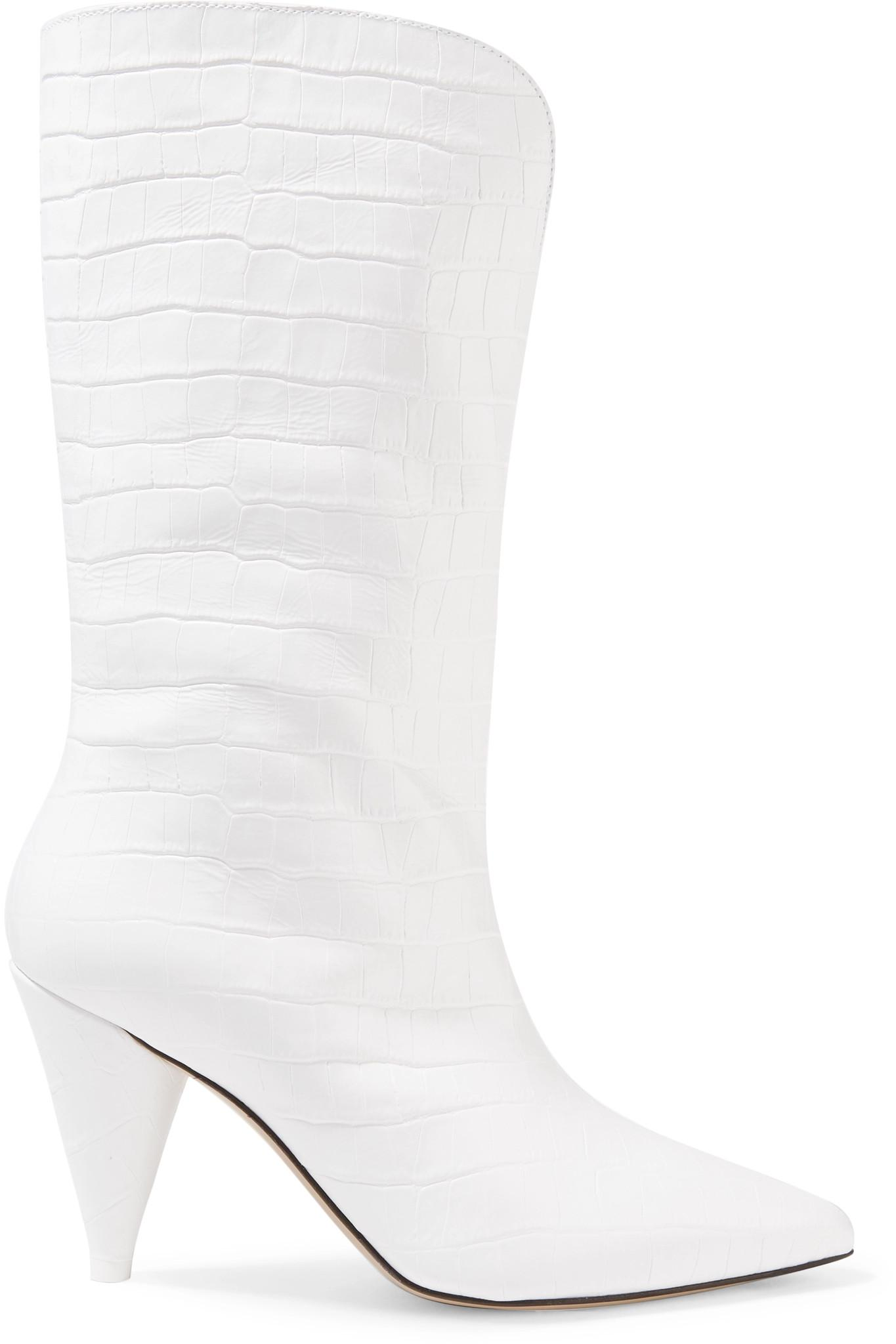 ee2af579759 Attico Betta Croc-effect Leather Knee Boots in White - Save 40% - Lyst