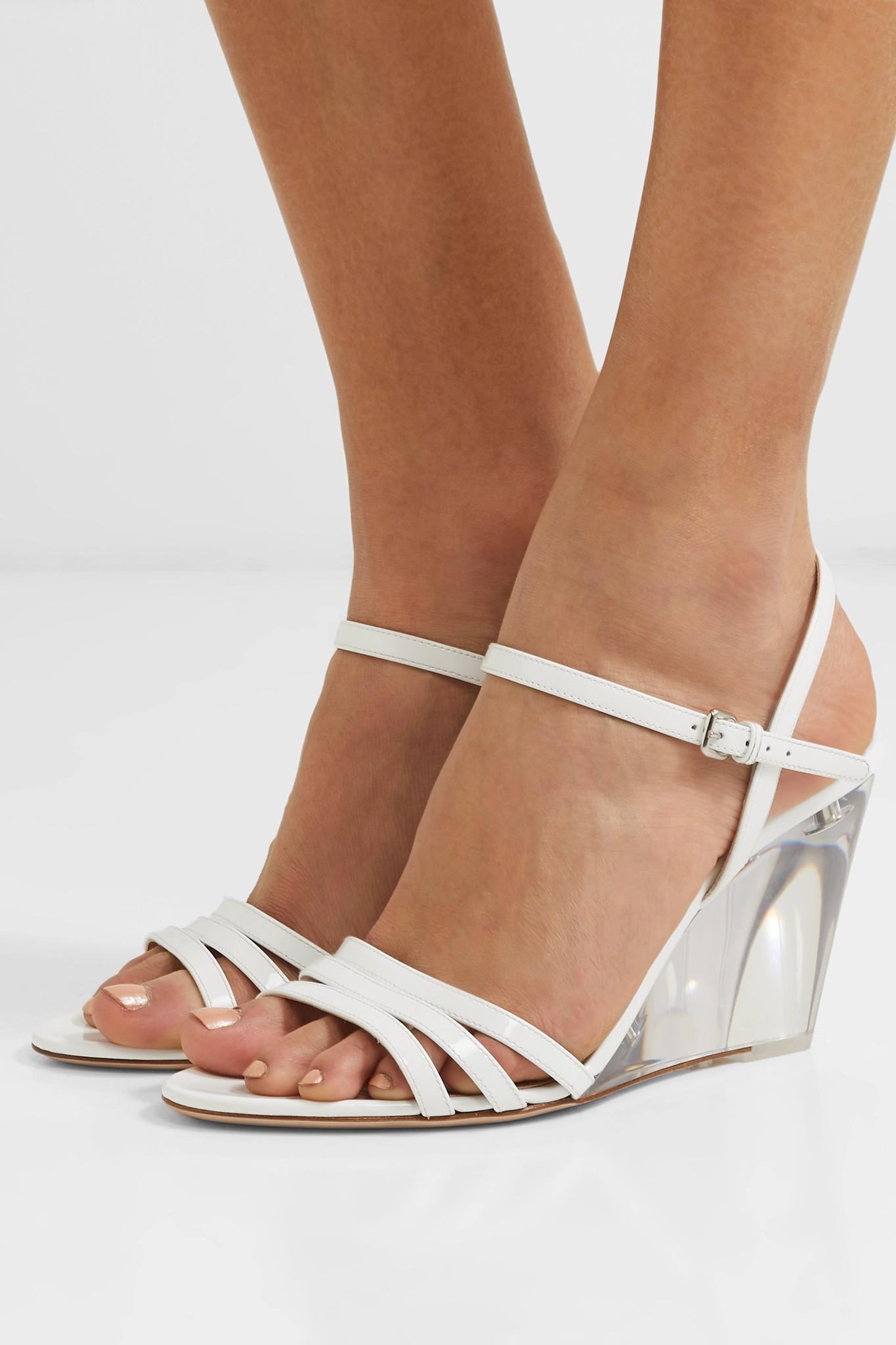 Lyst - Miu Miu Perspex And Leather Wedge Sandals in White