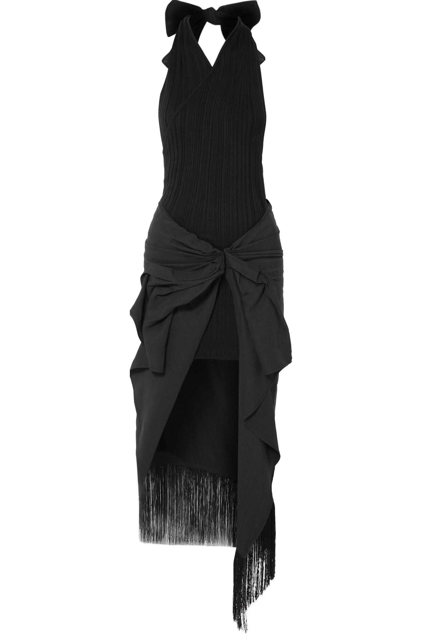 La Robe Drapeado Stretch-jersey And Voile Halterneck Dress - Black Jacquemus 9l6PDw0
