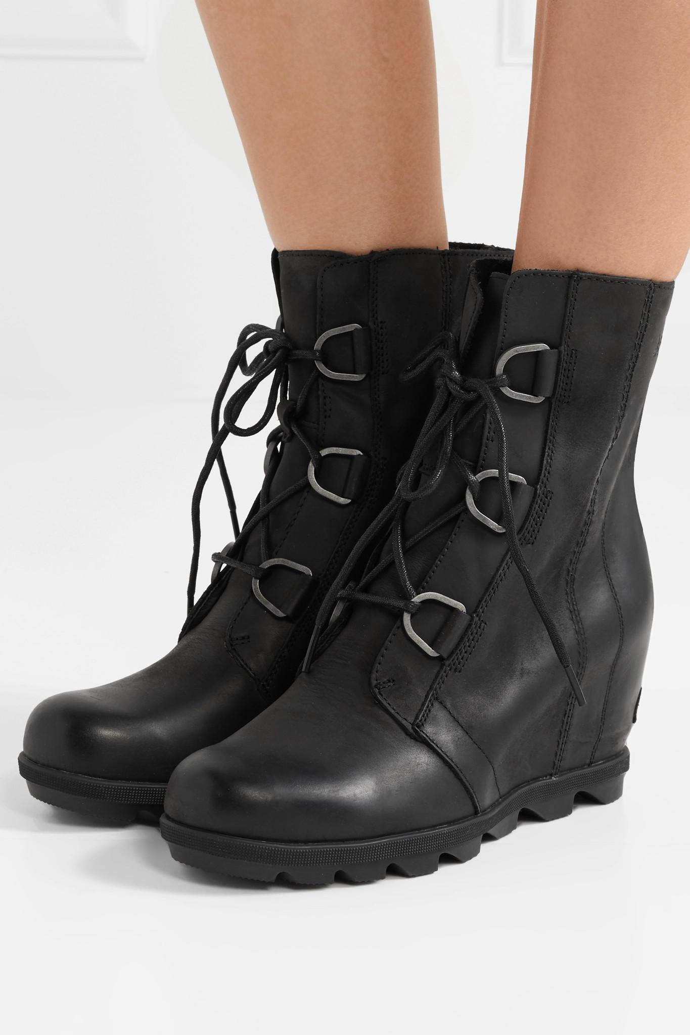 7a0c5c68cc5 Sorel - Black Joan Of Arctic Wedge Ii Waterproof Leather And Rubber Ankle  Boots - Lyst. View fullscreen