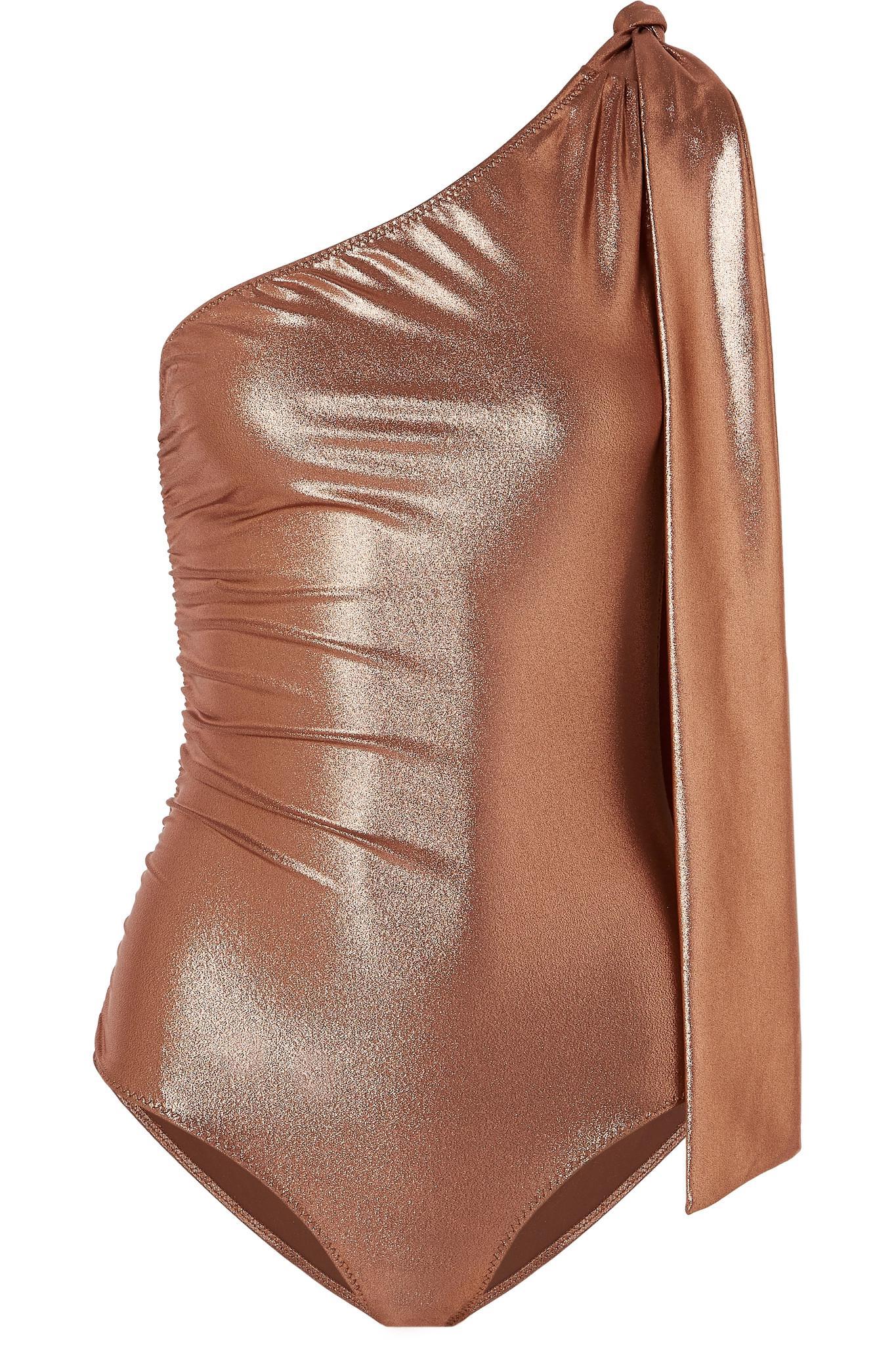 0592bae02f Lisa Marie Fernandez. Women's Brown Arden Metallic One-shoulder Ruched  Swimsuit