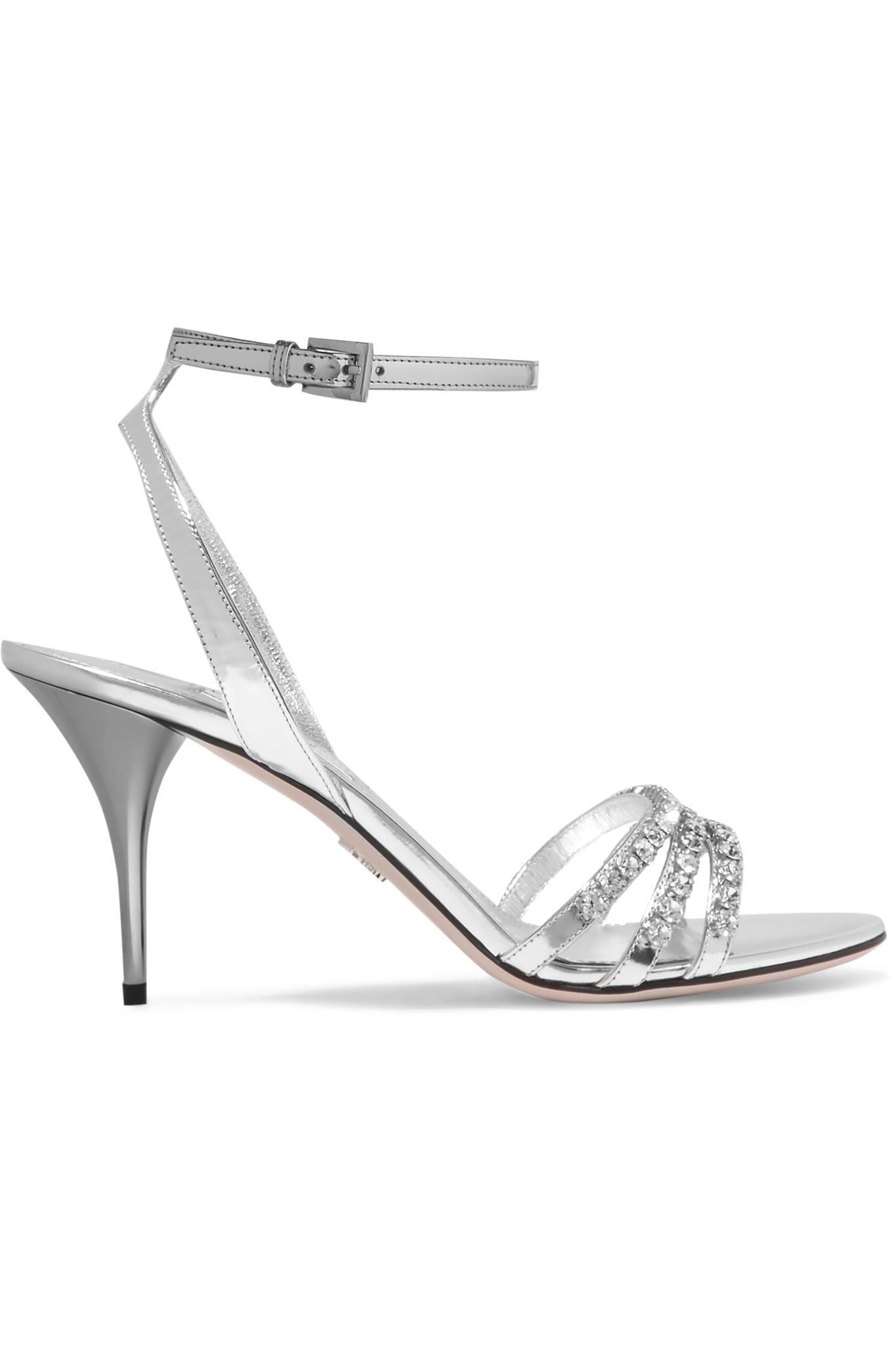 959d610cdee8a Lyst - Prada Crystal-embellished Metallic Leather Sandals in Metallic