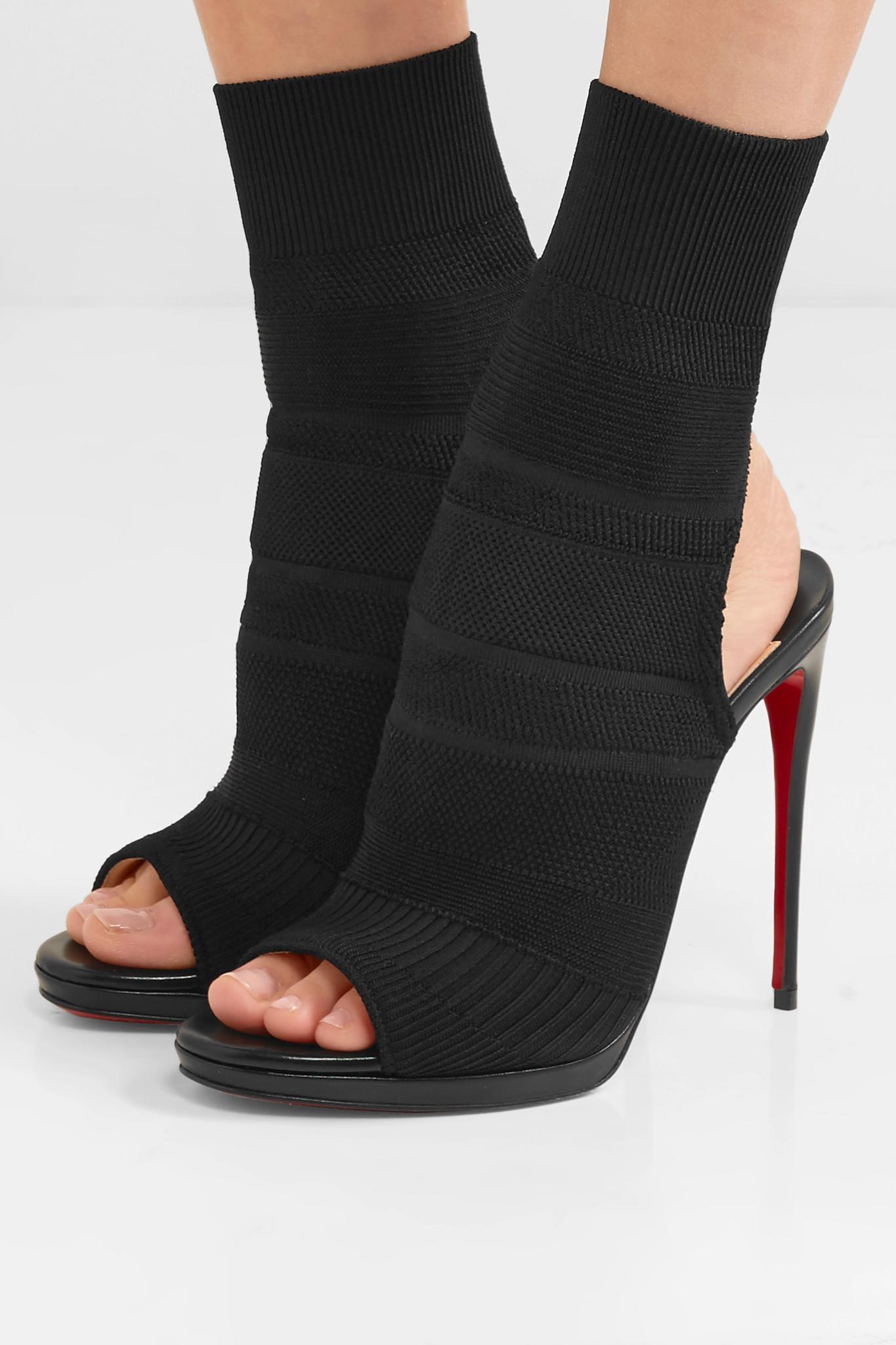 e9e60028670 Christian Louboutin Black Cheminene 120 Cutout Stretch-knit Sock Boots
