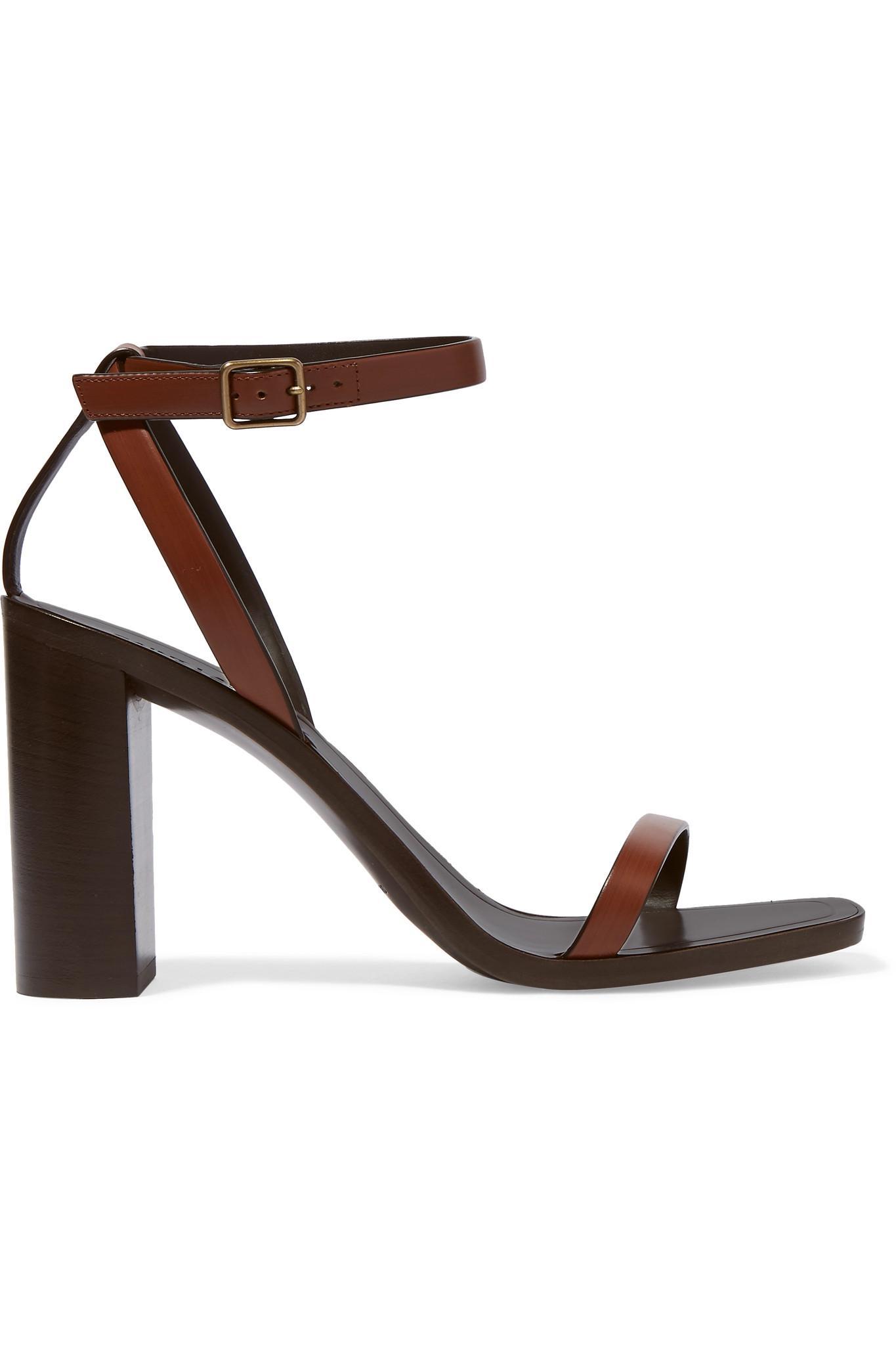 Loulou Leather Sandals - Brown Saint Laurent 2JPQ0zxQ