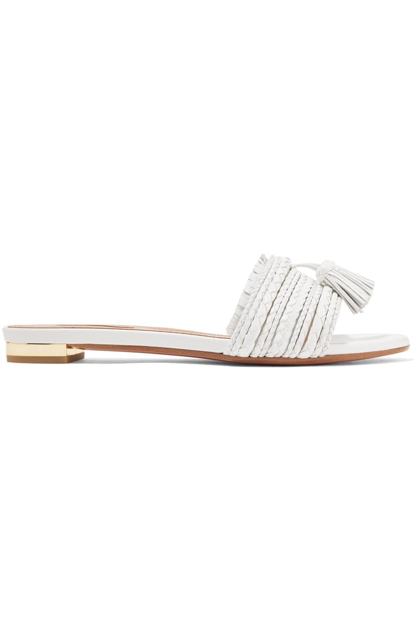 Sandales En Cuir Tressé à Houppes Sauvage - BlancAquazzura y9sWz