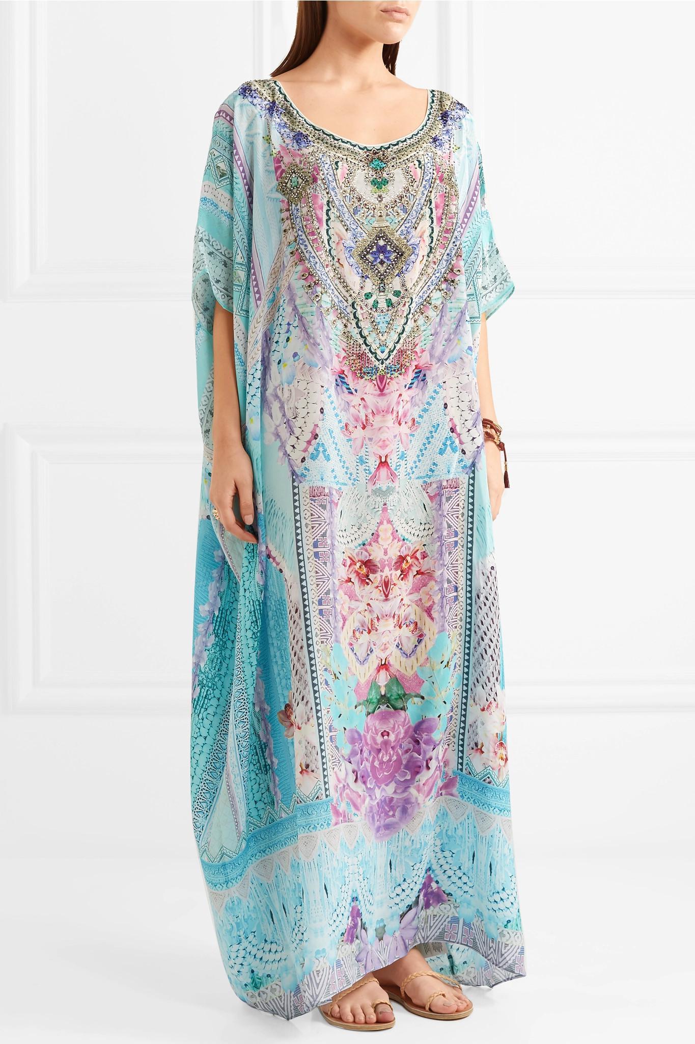 Rio Embellished Printed Silk Crepe De Chine Kaftan - Blue Camilla 6jCN3sjVYw