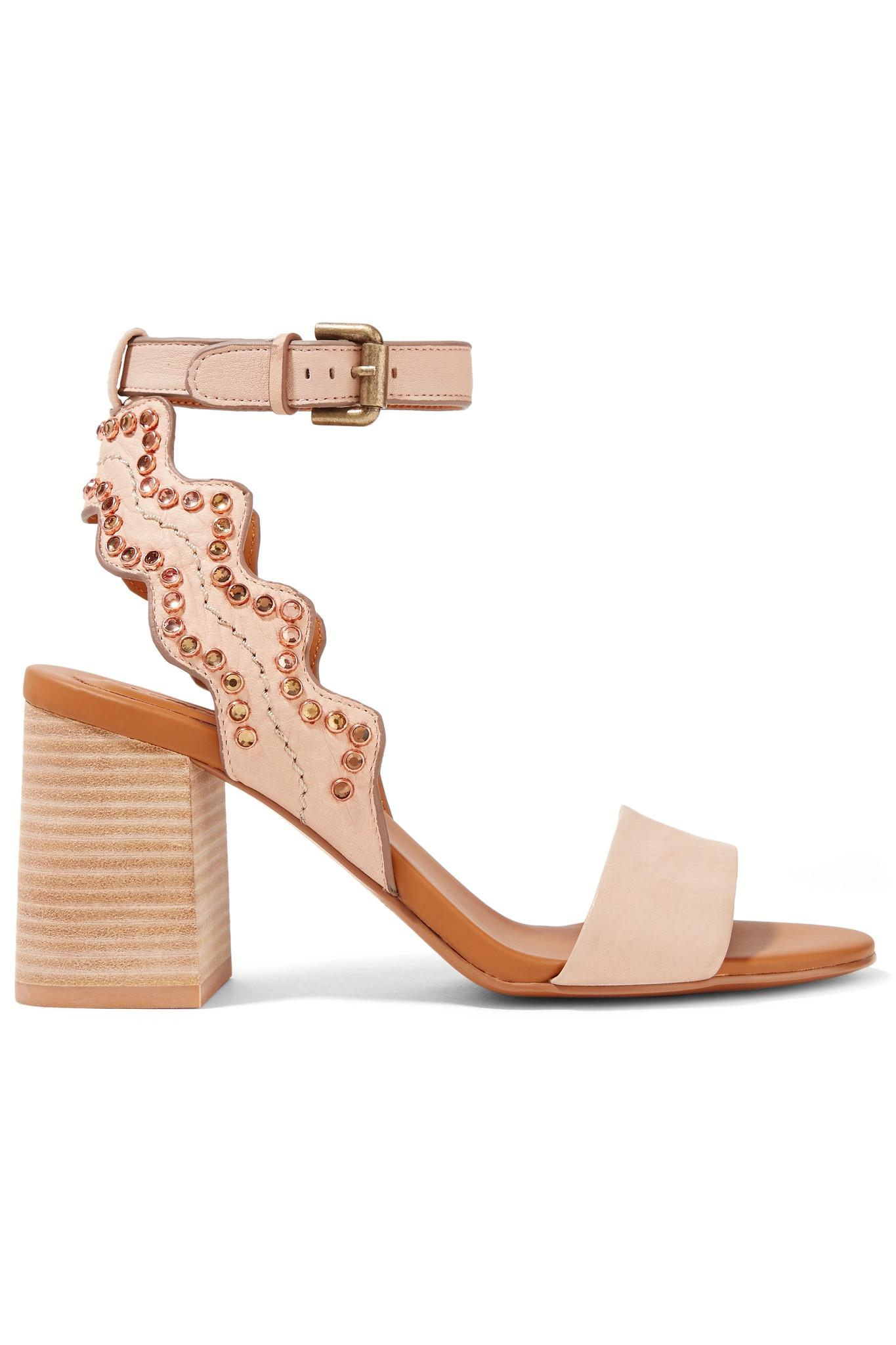 Crystal-embellished Scalloped Leather Sandals - Beige See By Chloé XyCU0