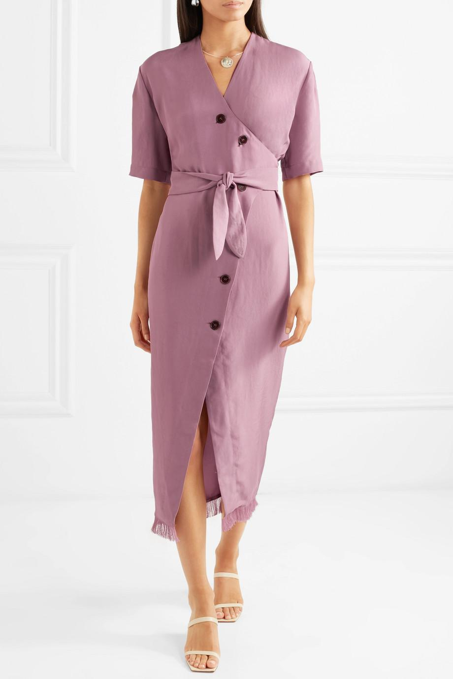 Belted Frayed Satin-twill Midi Dress - Purple Nanushka Sale Footlocker Outlet Choice Free Shipping Low Cost With Paypal Sale Online EDzBCRZ