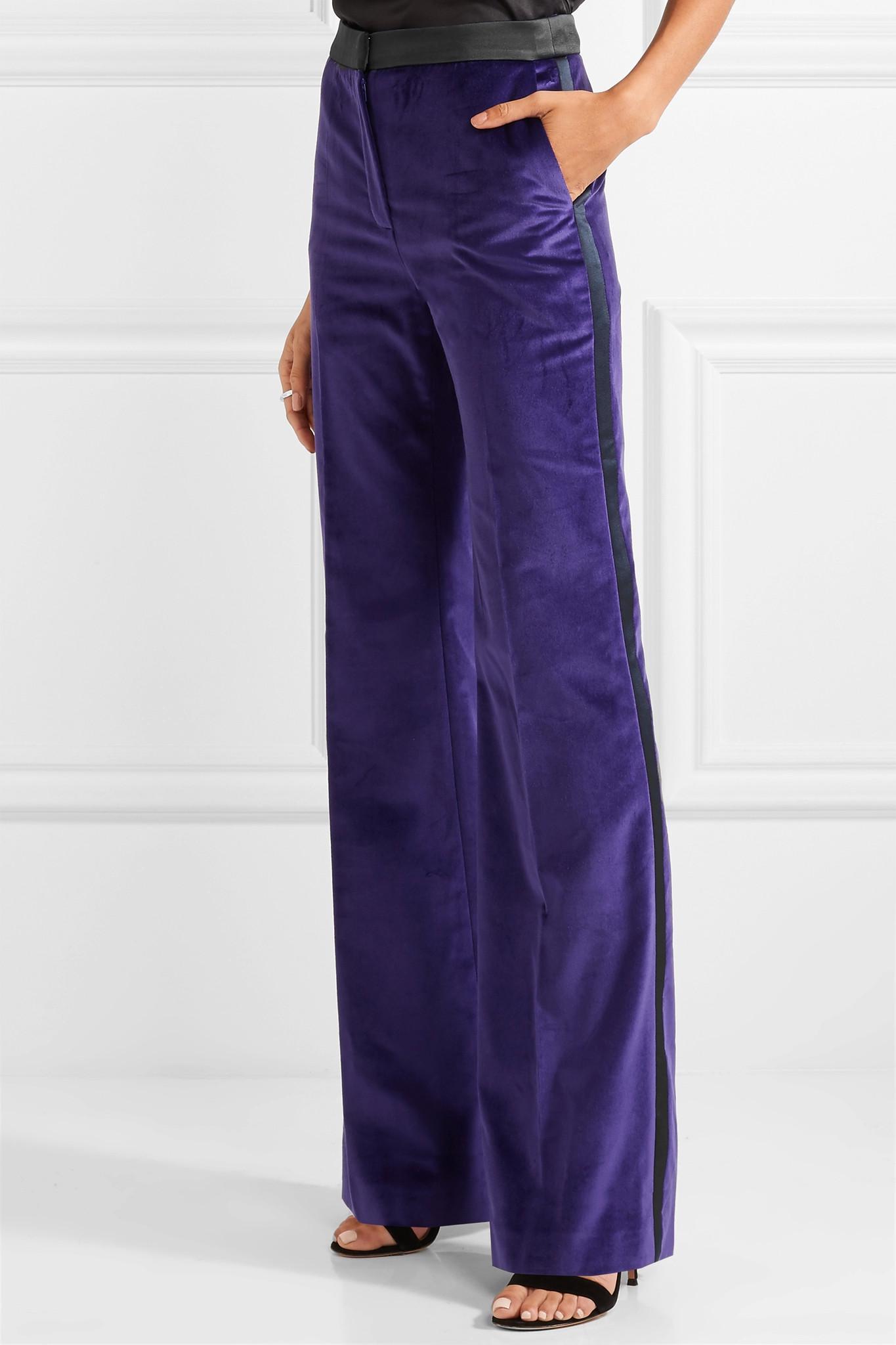 Satin-trimmed Cotton-velvet Flared Pants - Purple Pallas GerL7