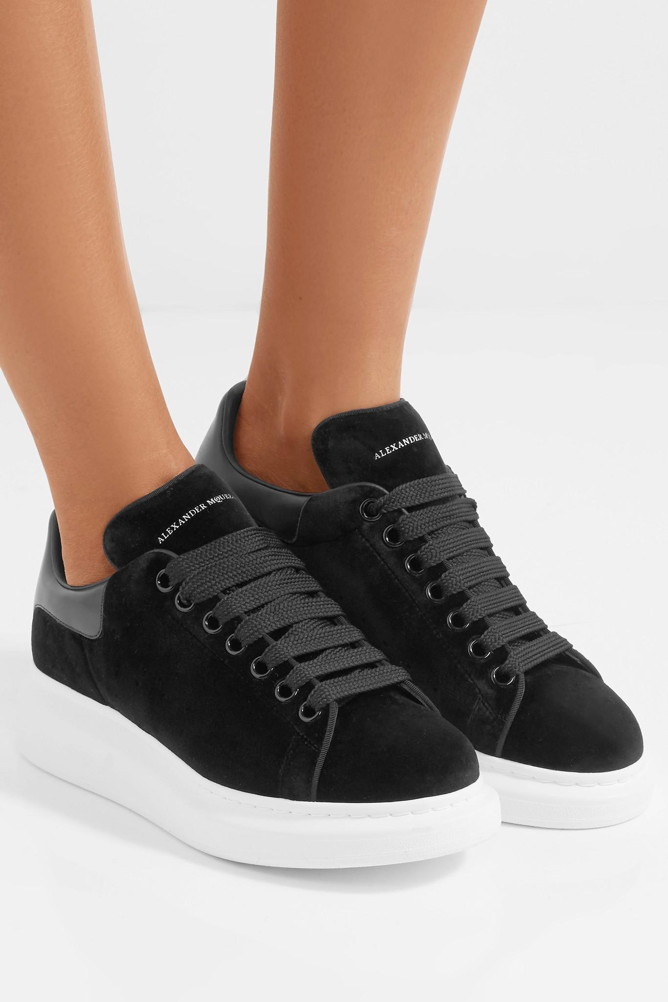 alexander mcqueen trainers black velvet