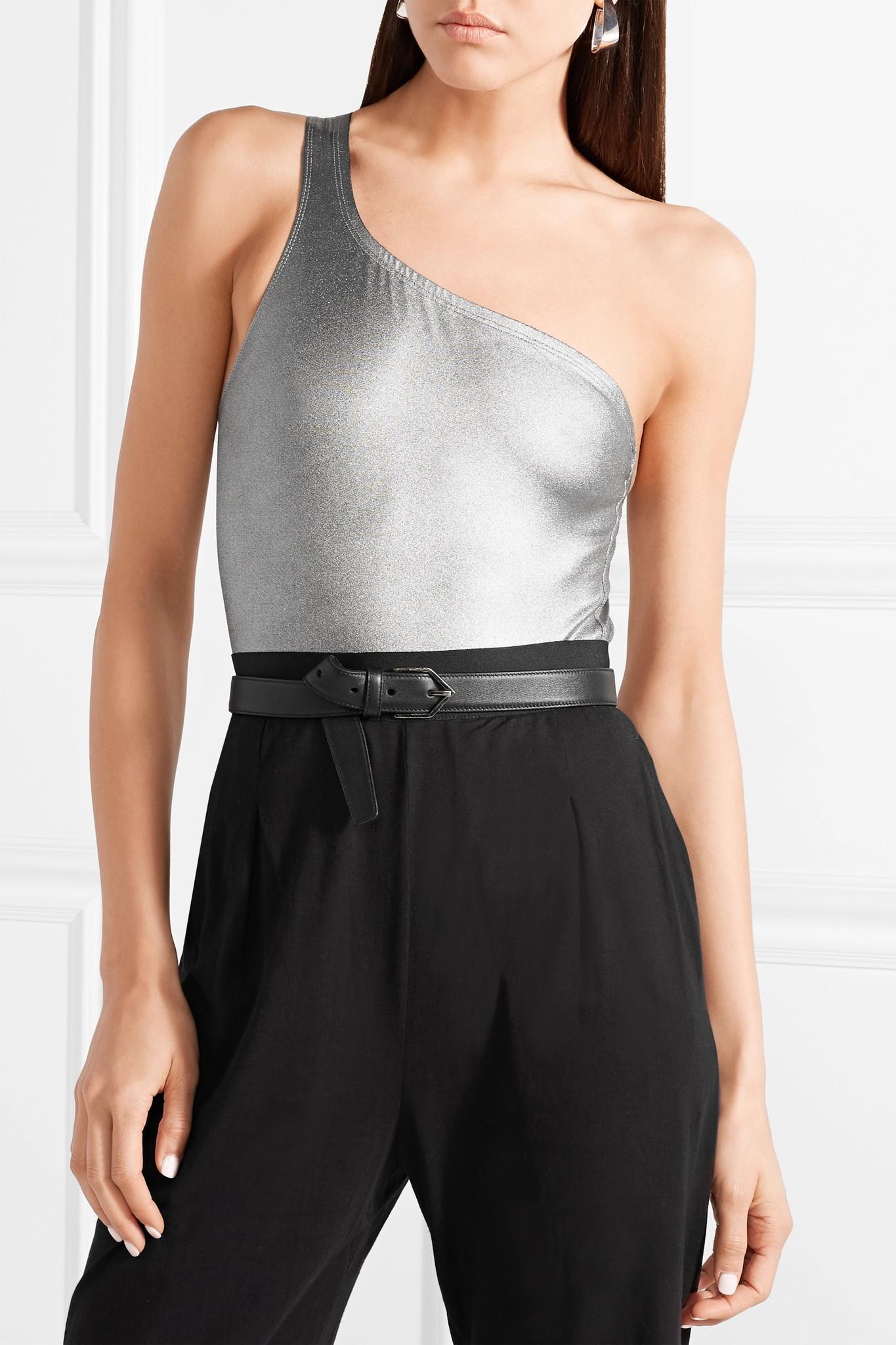 9af4f53ca9 Isabel Marant Sage One-shoulder Cutout Metallic Stretch-jersey ...