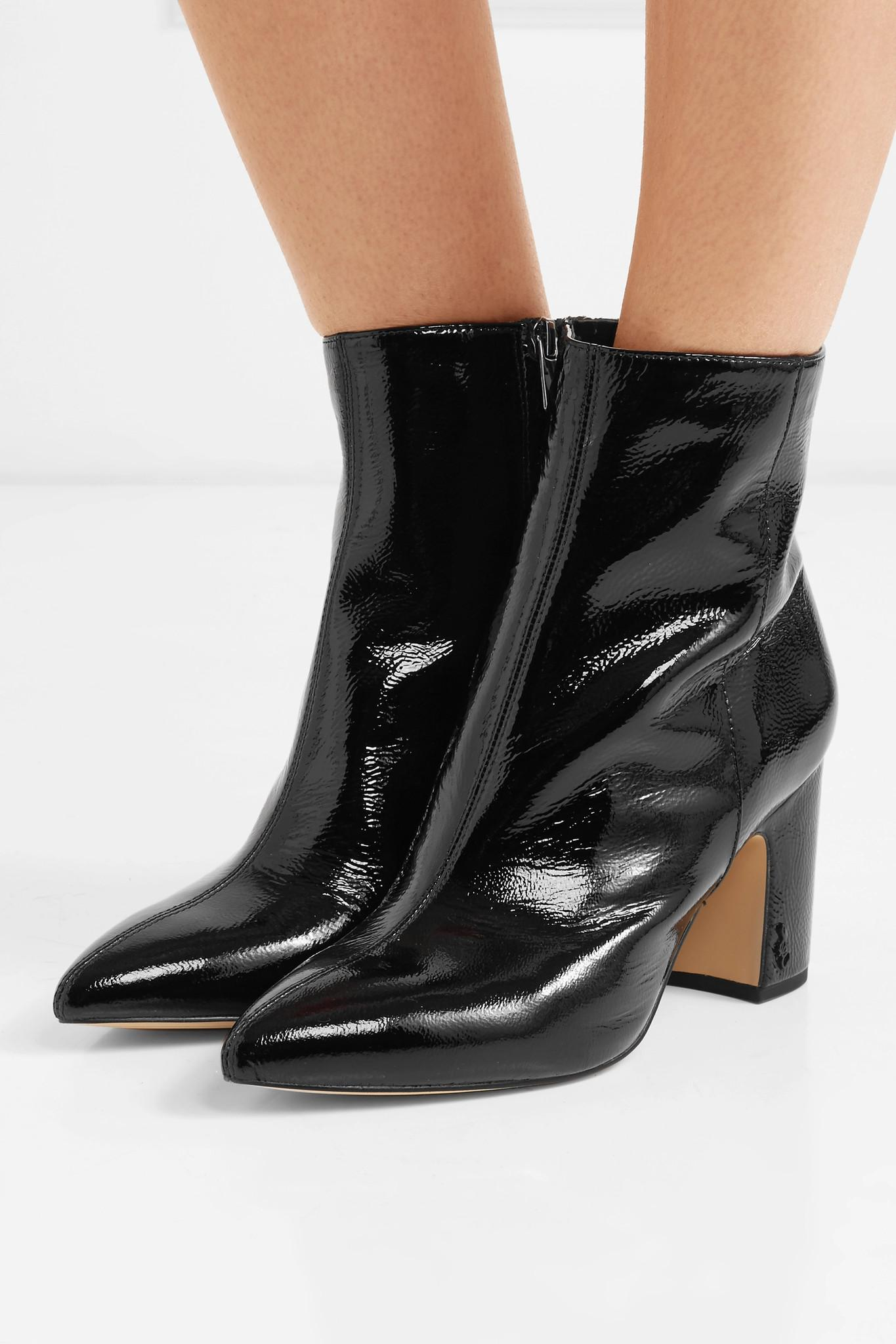 17c26ebea2a Sam Edelman - Black Hilty Patent-leather Ankle Boots - Lyst. View fullscreen
