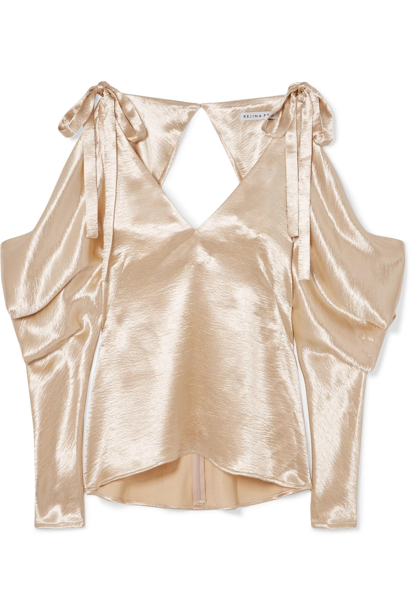 b20b0fc47a505a Rejina Pyo Camille Cold-shoulder Draped Satin Blouse in Metallic - Lyst