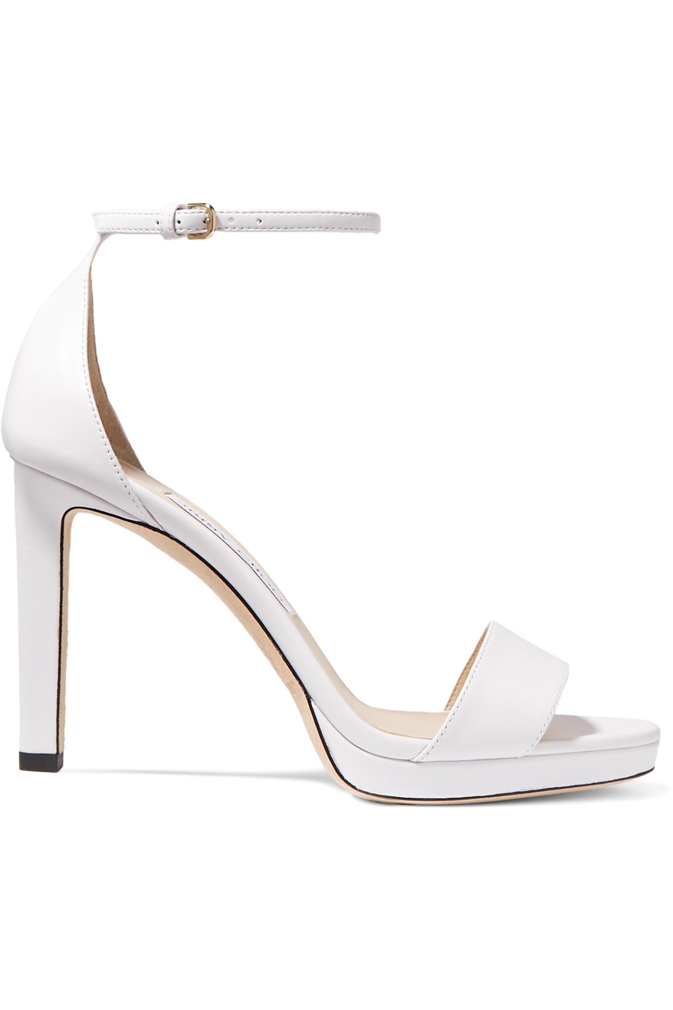 9770863d2df Lyst - Jimmy Choo Misty 100 Leather Platform Sandals in White