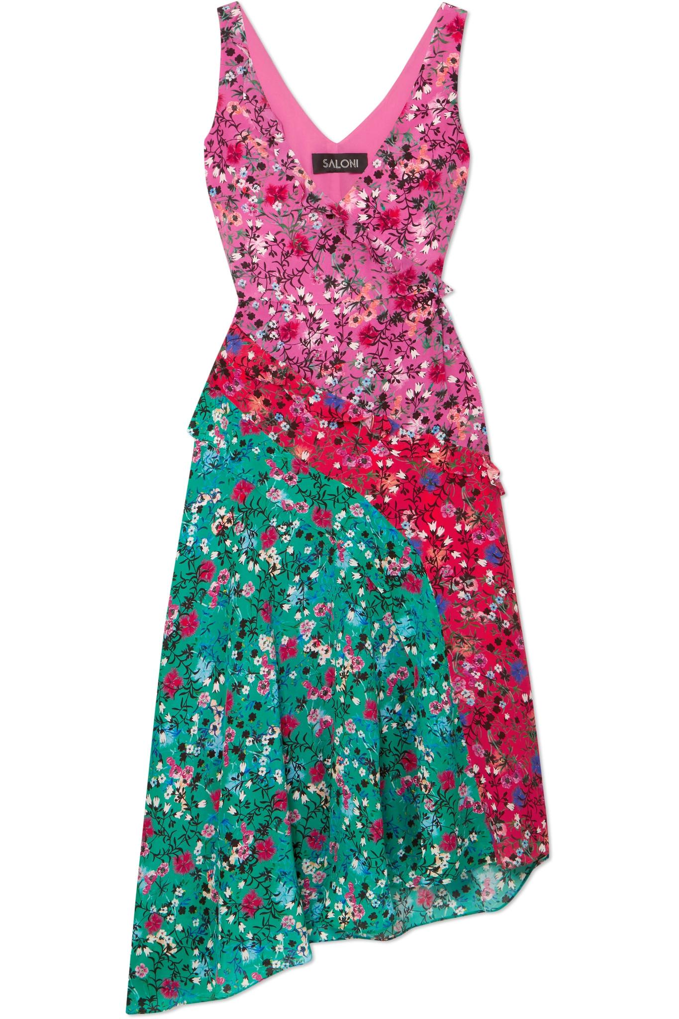 Aggie Ruffled Floral-print Silk Midi Dress - Turquoise Saloni Footlocker Outlet Wide Range Of Hot Sale Cheap Online Looking For For Sale Hot Sale Sale Online BrbLNdNx