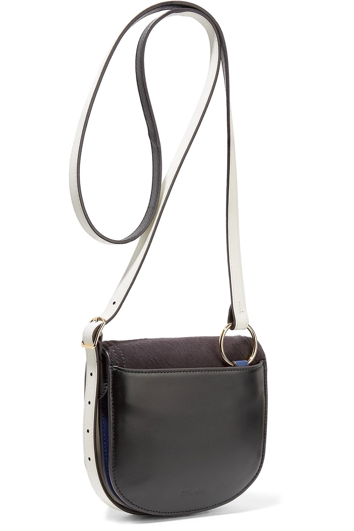 Saddle Mini Calf Hair And Leather Shoulder Bag - Navy Diane Von F yyTRptvi