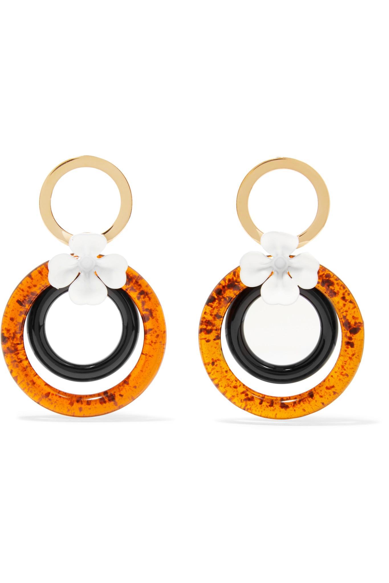 Tons D'or, Résine Et Boucles D'oreilles En Cristal - Marni Orange