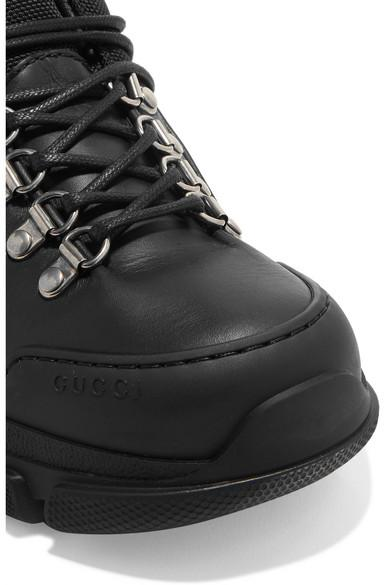 8ddf0922aa2 Gucci Black Flashtrek Shearling-trimmed Leather, Canvas And Suede Boots