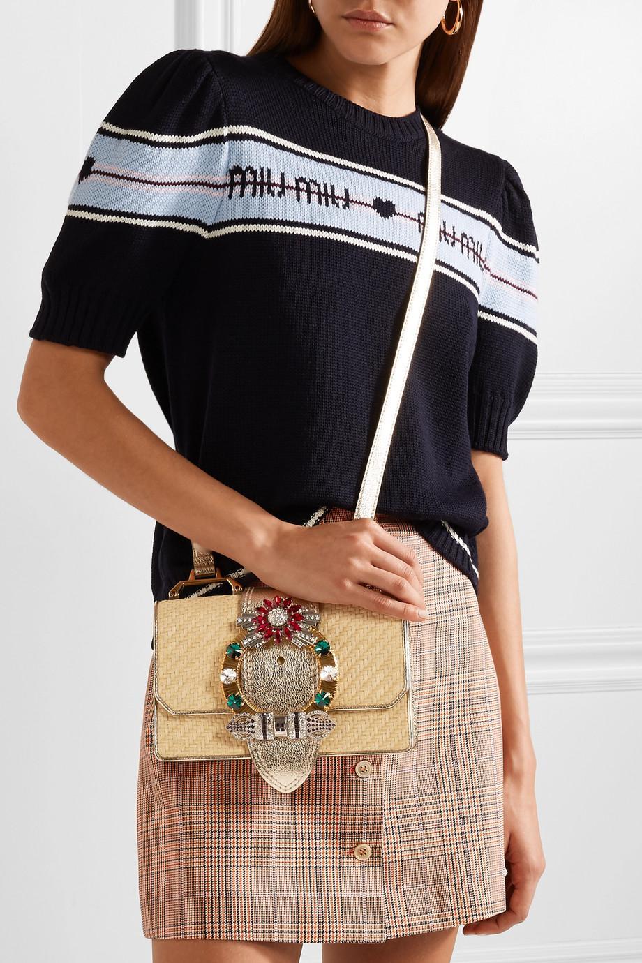 Miu Lady Embellished Raffia And Textured-leather Shoulder Bag - Gold Miu Miu 72xaGI00bY