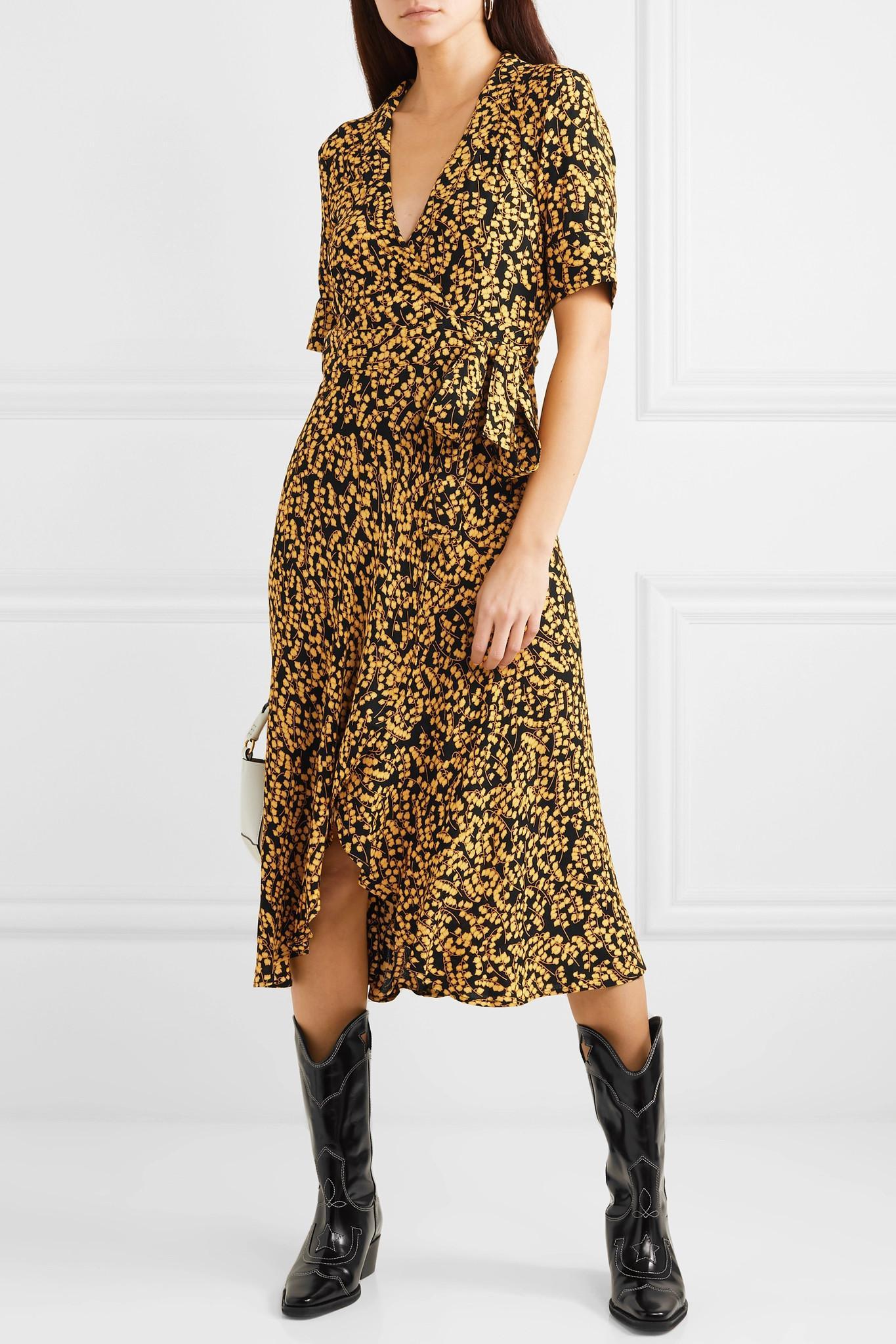 72b9c410af70 Ganni - Black Goldstone Floral-print Crepe Wrap Dress - Lyst. View  fullscreen