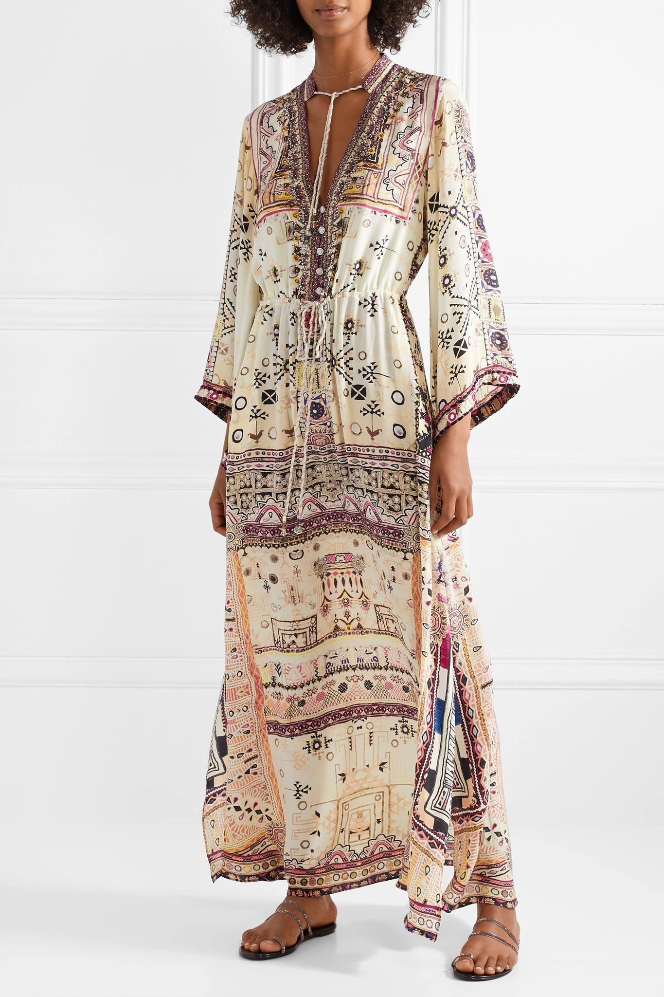 The Long Way Home Embellished Printed Silk Crepe De Chine Maxi Dress - Cream Camilla cuDQ0
