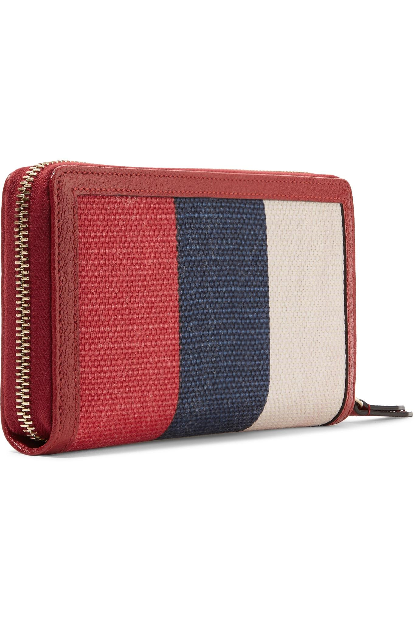 ae6017ced02 Gucci - Textured Leather-trimmed Printed Canvas Wallet - Lyst. View  fullscreen